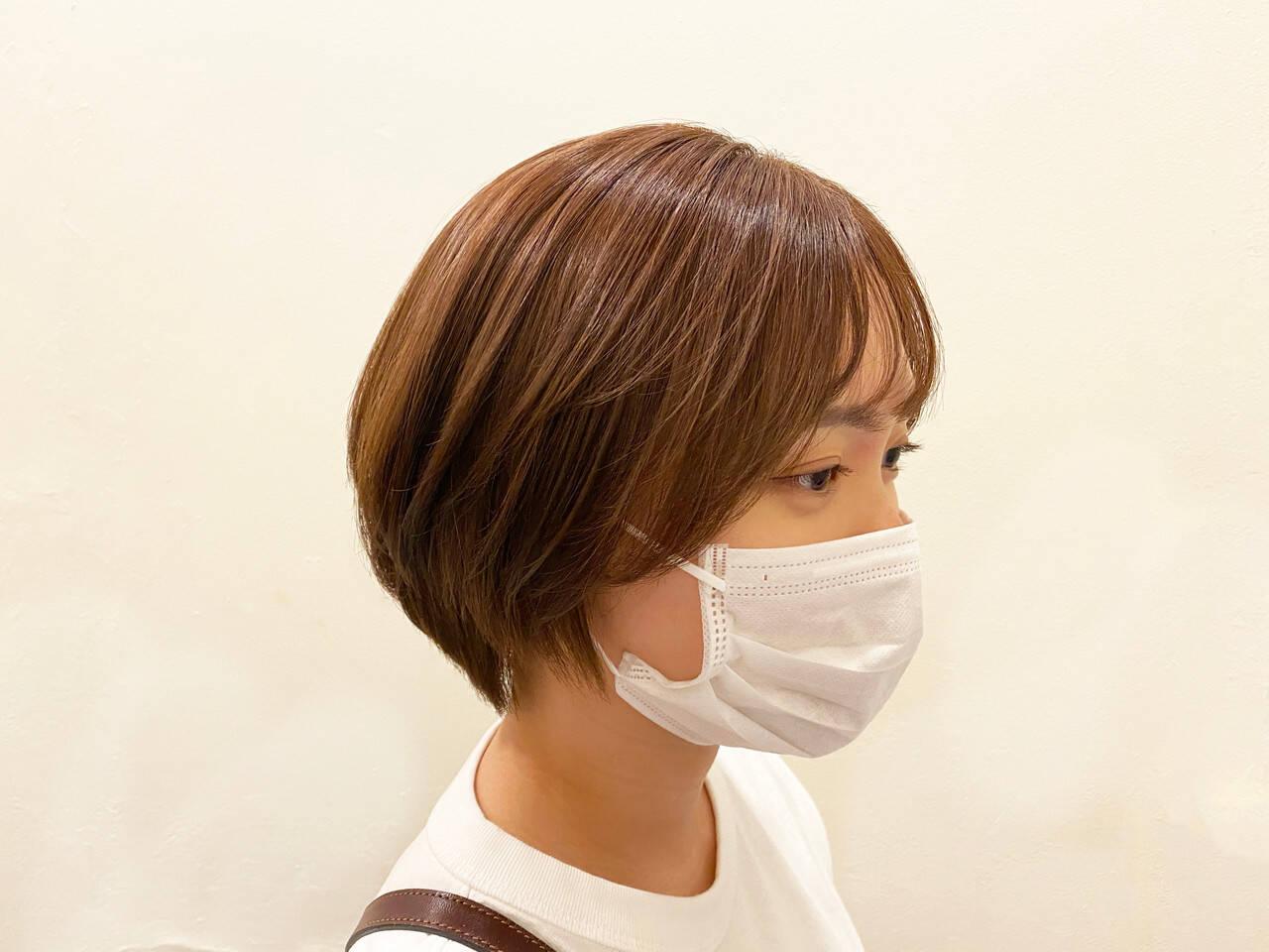 簡単スタイリング ボブ ショートボブ ショコラブラウンヘアスタイルや髪型の写真・画像