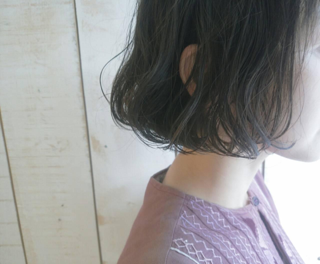 外国人風 黒髪 前髪あり ボブヘアスタイルや髪型の写真・画像
