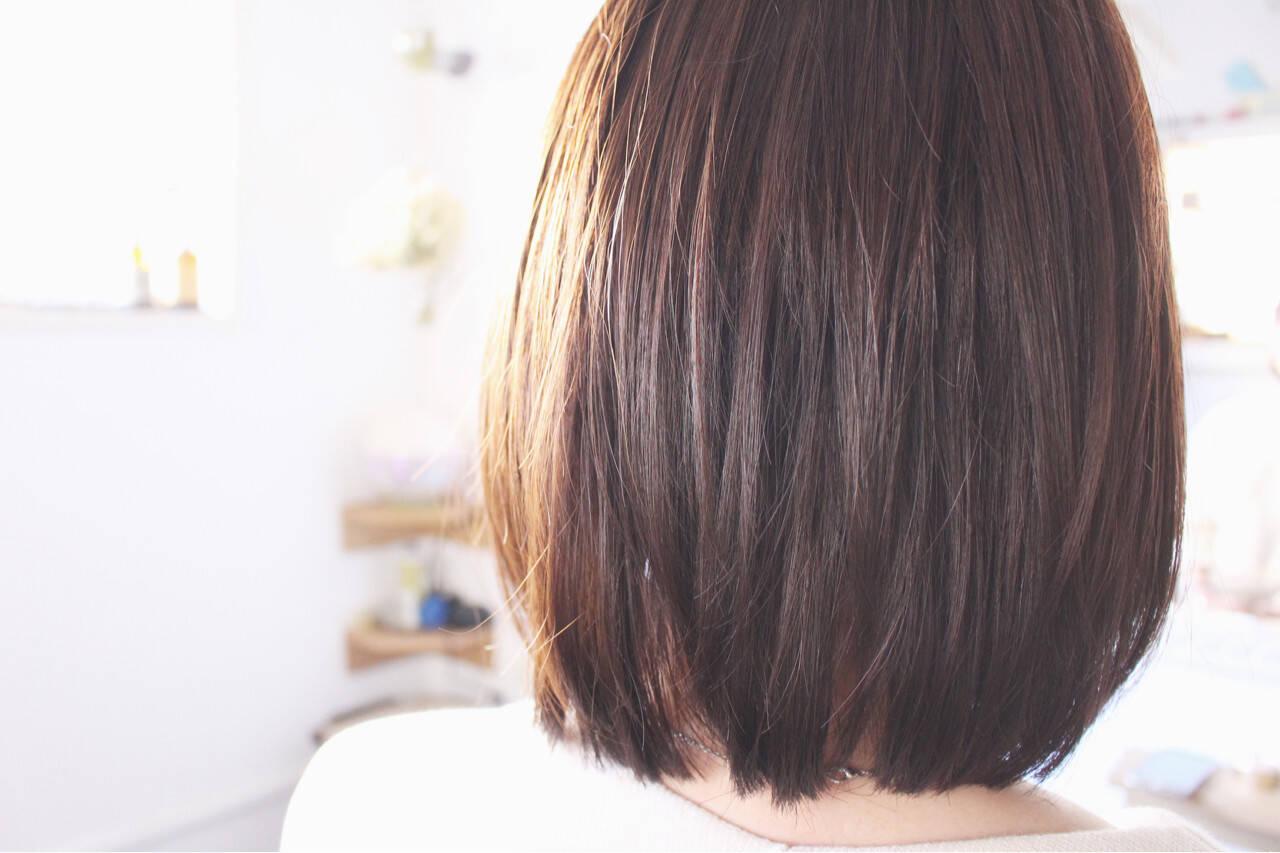アッシュ ロブ ミディアム ボブヘアスタイルや髪型の写真・画像
