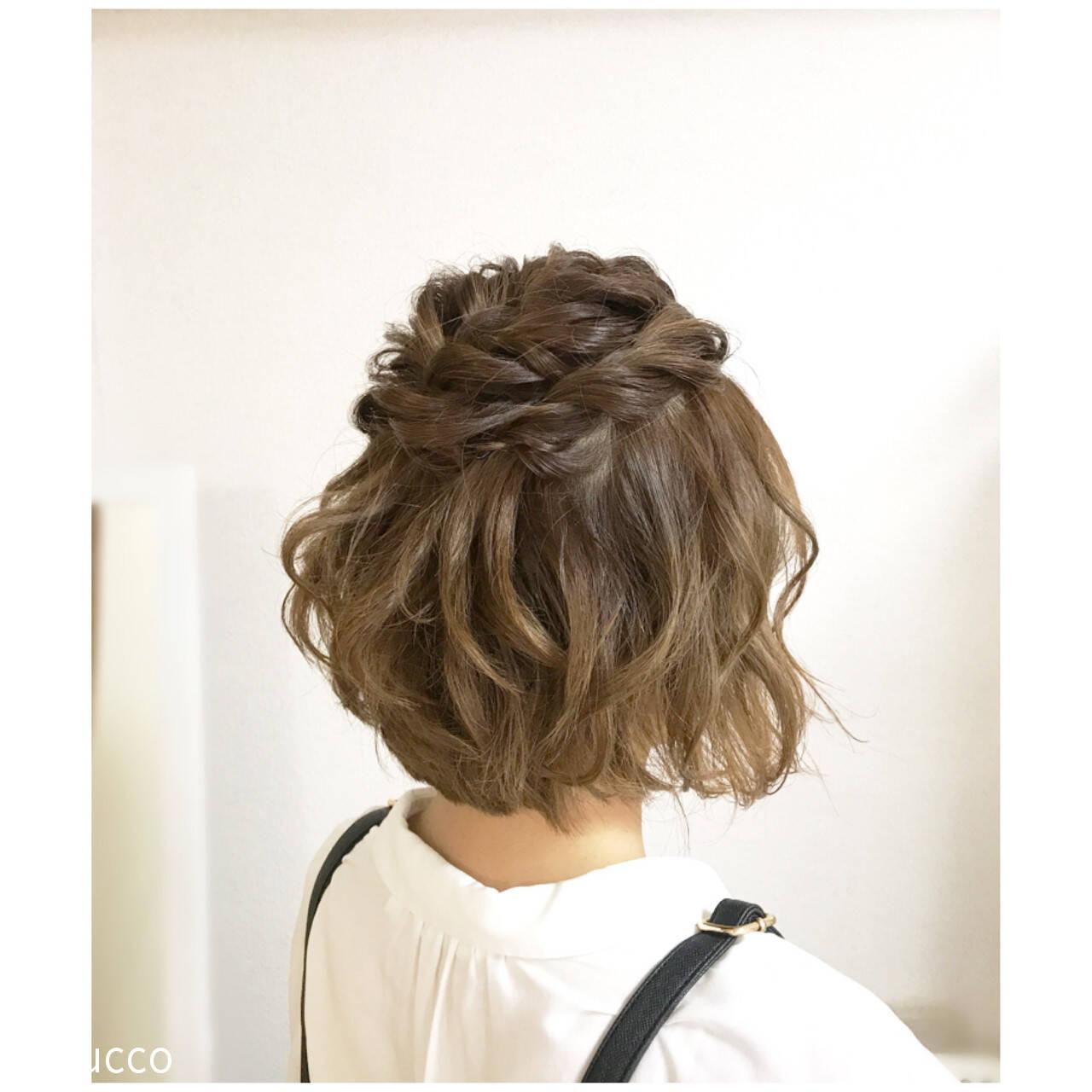 ヘアアレンジ ボブ デート ナチュラルヘアスタイルや髪型の写真・画像