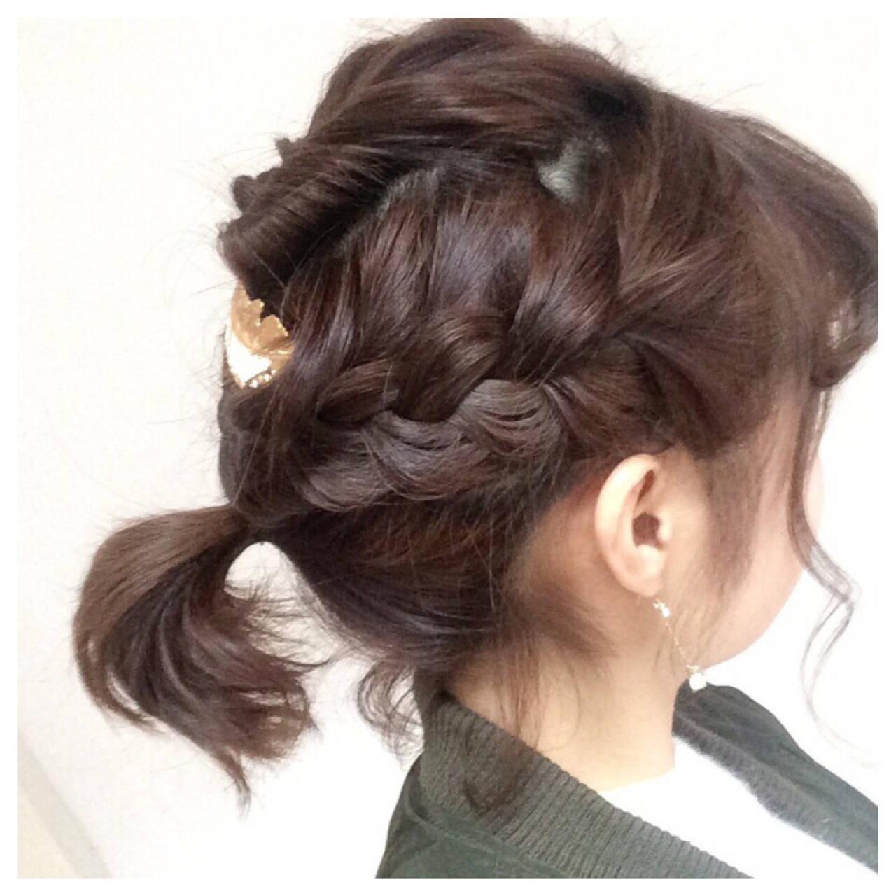 編み込み ヘアアレンジ ボブ くるりんぱヘアスタイルや髪型の写真・画像