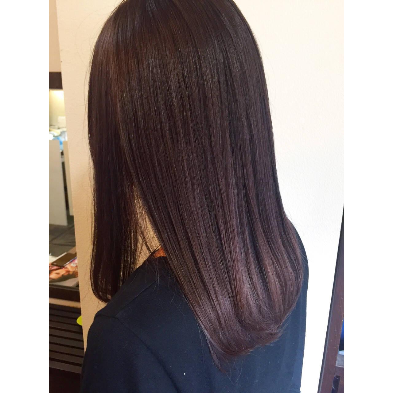 ベリーピンク ピンク ラベンダー 暗髪ヘアスタイルや髪型の写真・画像