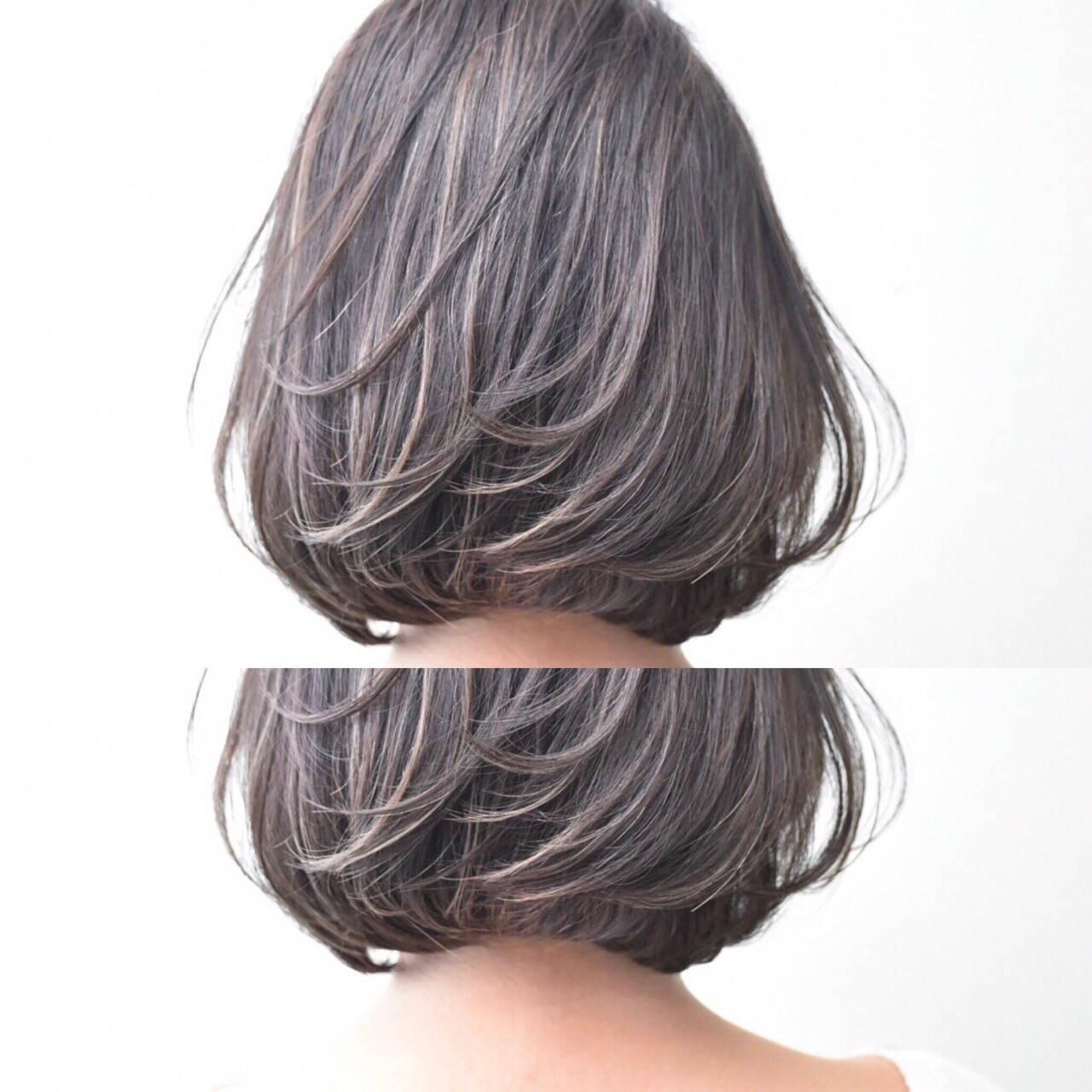 女子会 ラベンダー ボブ デートヘアスタイルや髪型の写真・画像