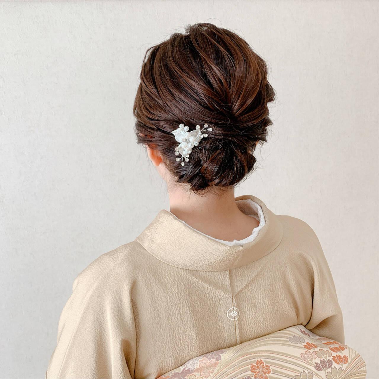 お呼ばれ 訪問着 着物 ミディアムヘアスタイルや髪型の写真・画像