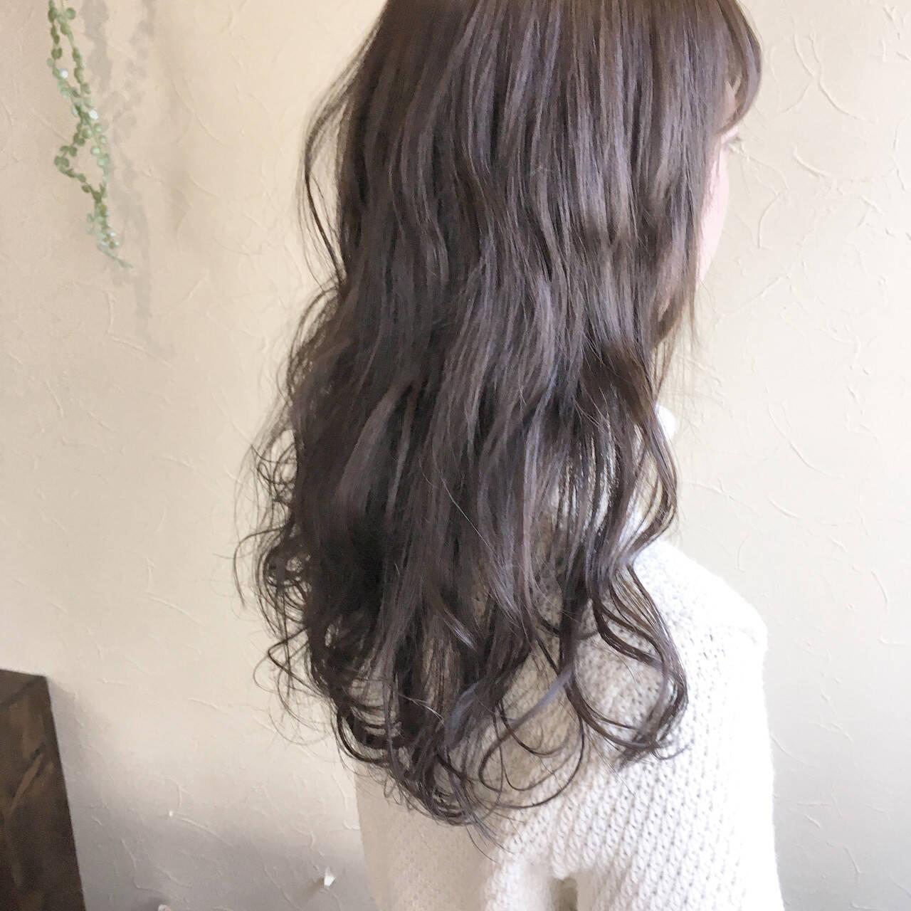 大人可愛い ロング フェミニン ゆるナチュラルヘアスタイルや髪型の写真・画像