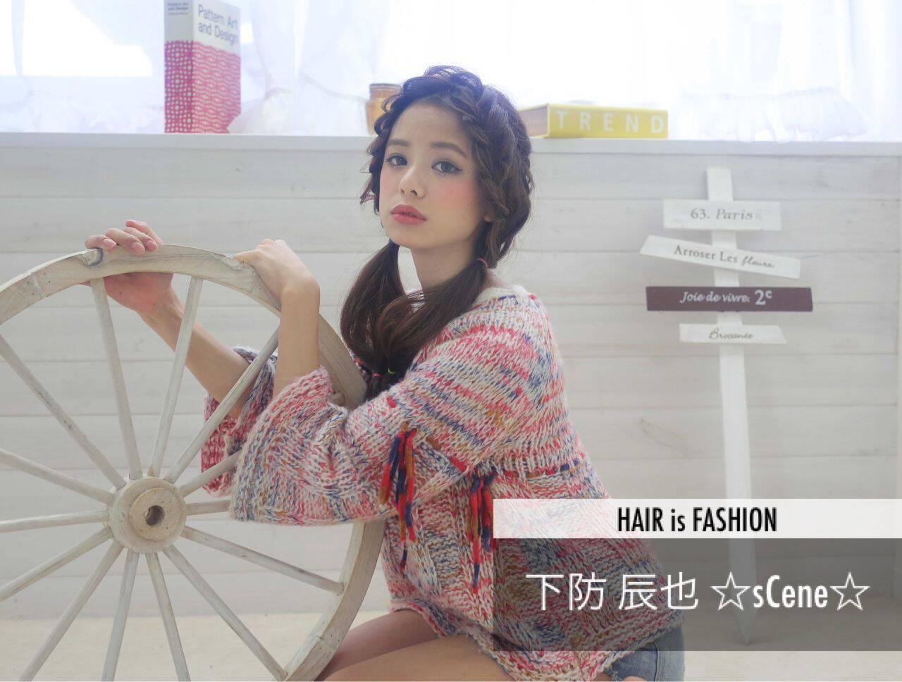 モード ウェーブ 三つ編み ヘアアレンジヘアスタイルや髪型の写真・画像