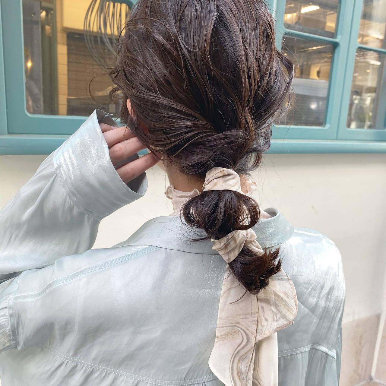 ヘアアレンジ ナチュラル 大人かわいい 切りっぱなしボブヘアスタイルや髪型の写真・画像