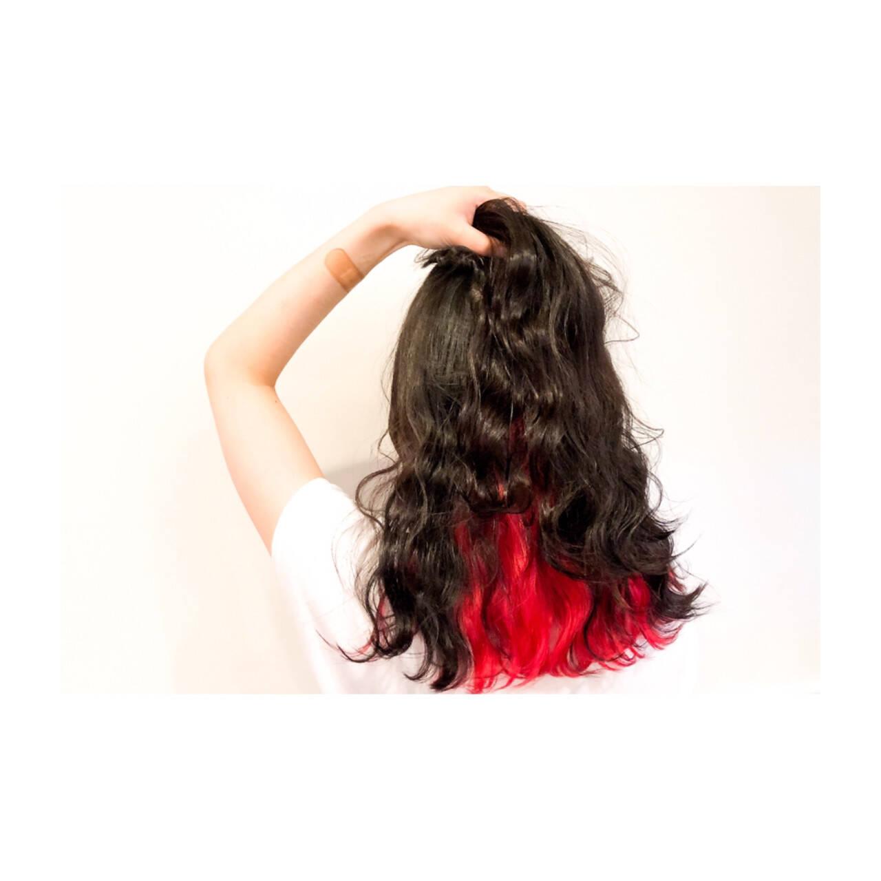 インナーカラー ロング かっこいい 大人女子ヘアスタイルや髪型の写真・画像