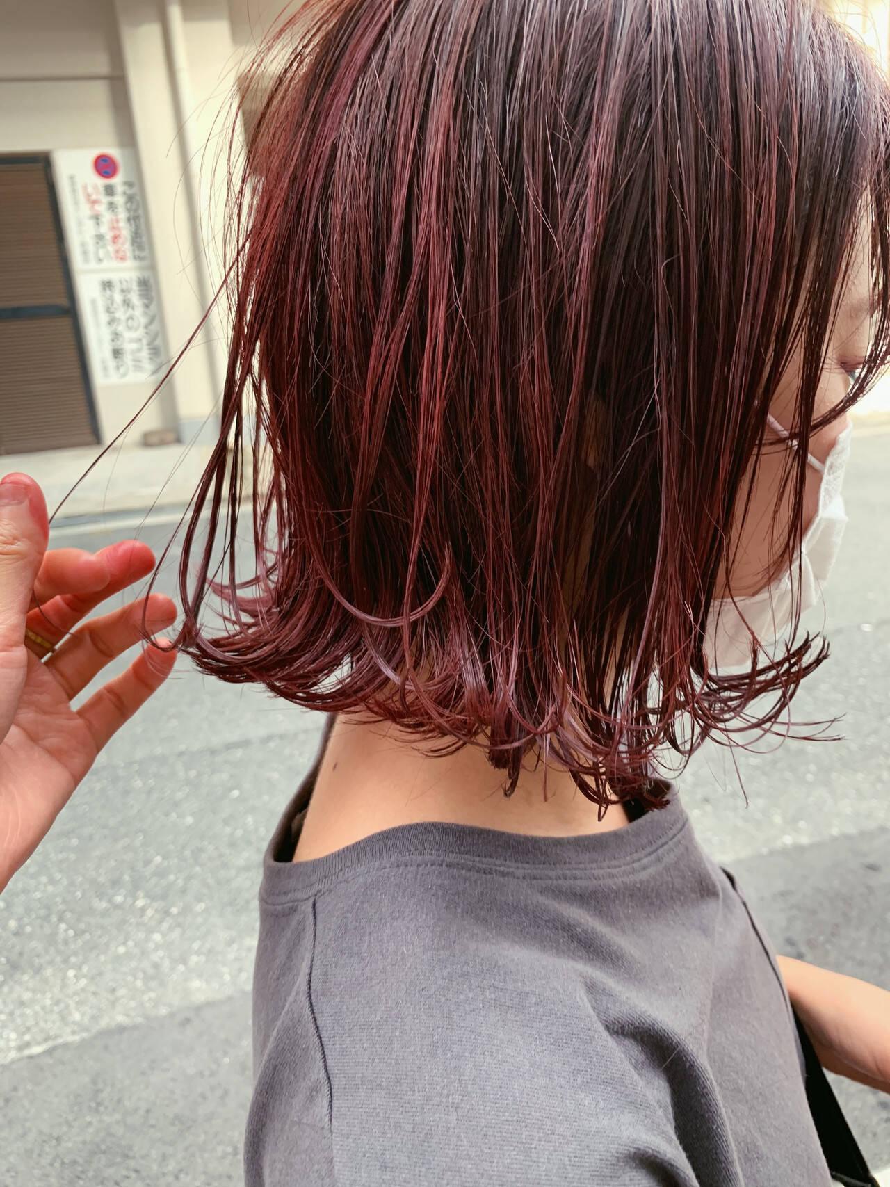 秋 ボブ 切りっぱなしボブ 赤髪ヘアスタイルや髪型の写真・画像