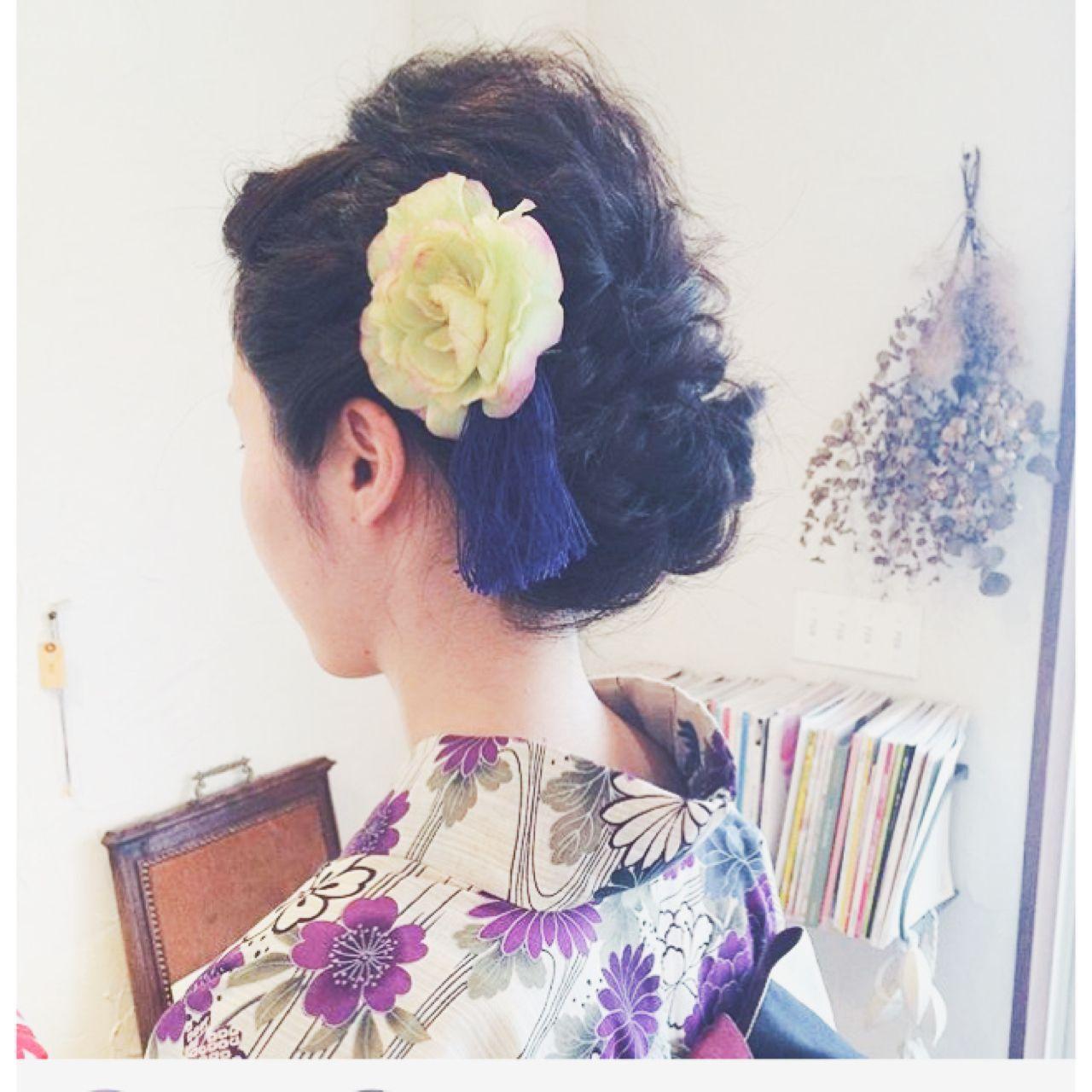 夏 編み込み 和装 ゆるふわヘアスタイルや髪型の写真・画像
