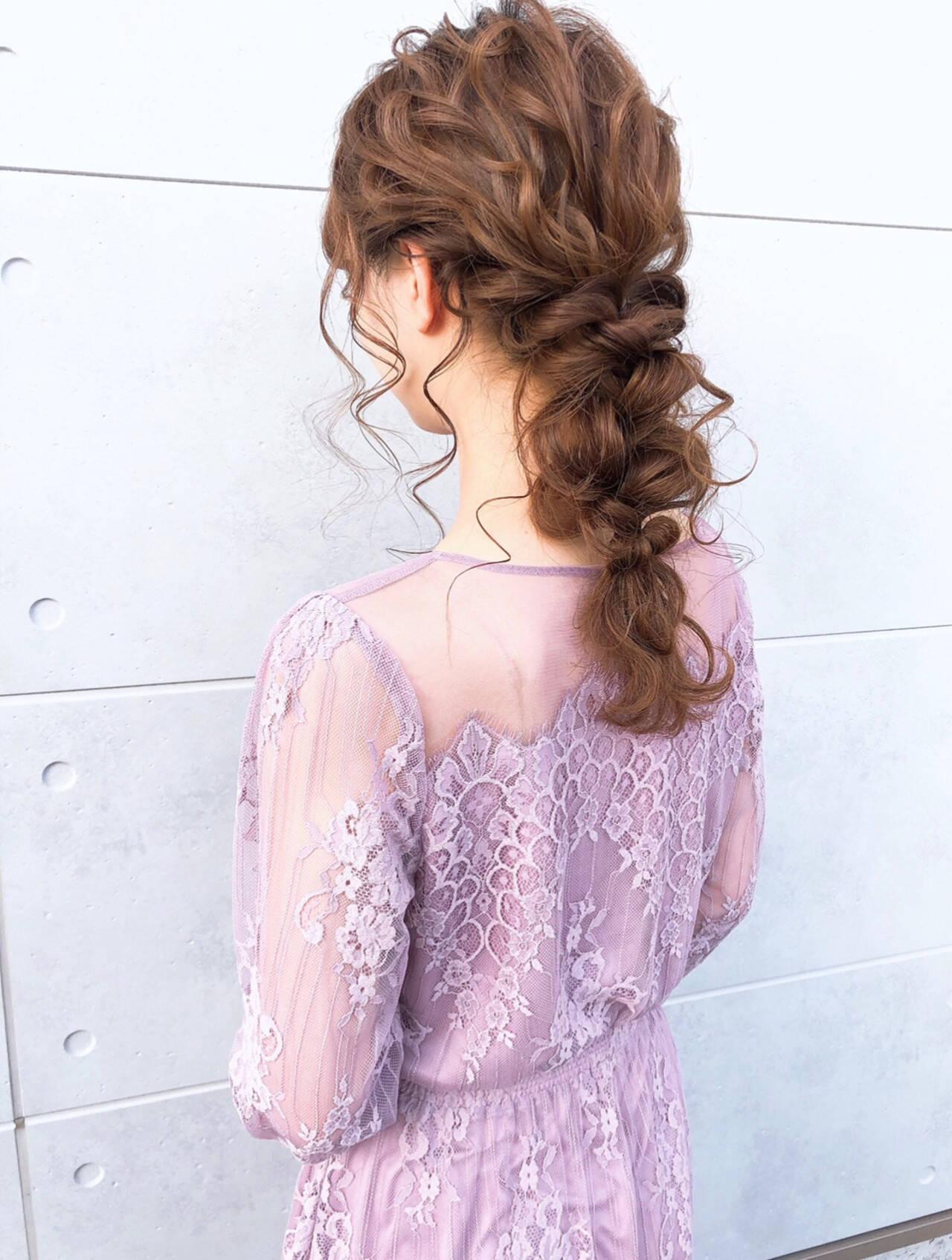 セミロング 編みおろしヘア ガーリー 編みおろしヘアスタイルや髪型の写真・画像