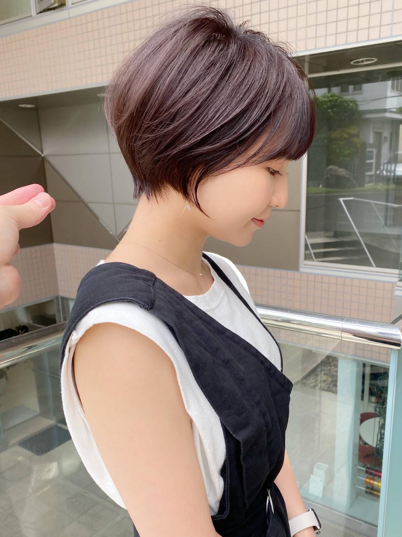ショート ナチュラル ショートヘア ひし形シルエットヘアスタイルや髪型の写真・画像
