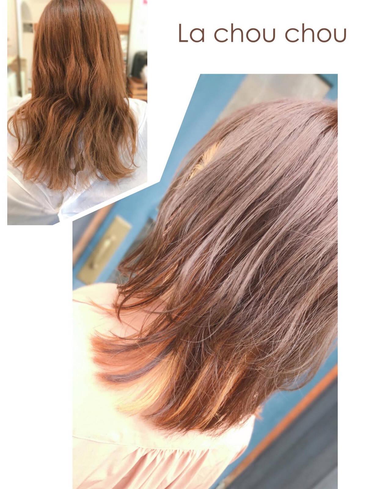 髪質改善トリートメント イメチェン 夏のヘアケア対策 インナーカラーヘアスタイルや髪型の写真・画像