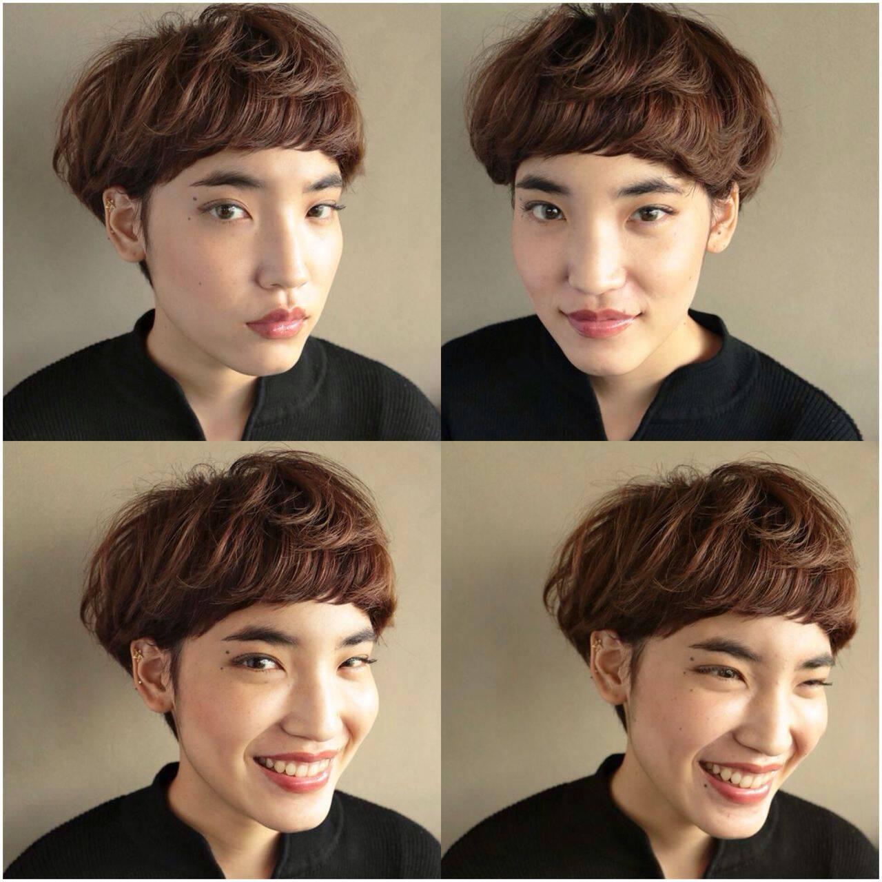 モード 秋 ナチュラル ベリーショートヘアスタイルや髪型の写真・画像