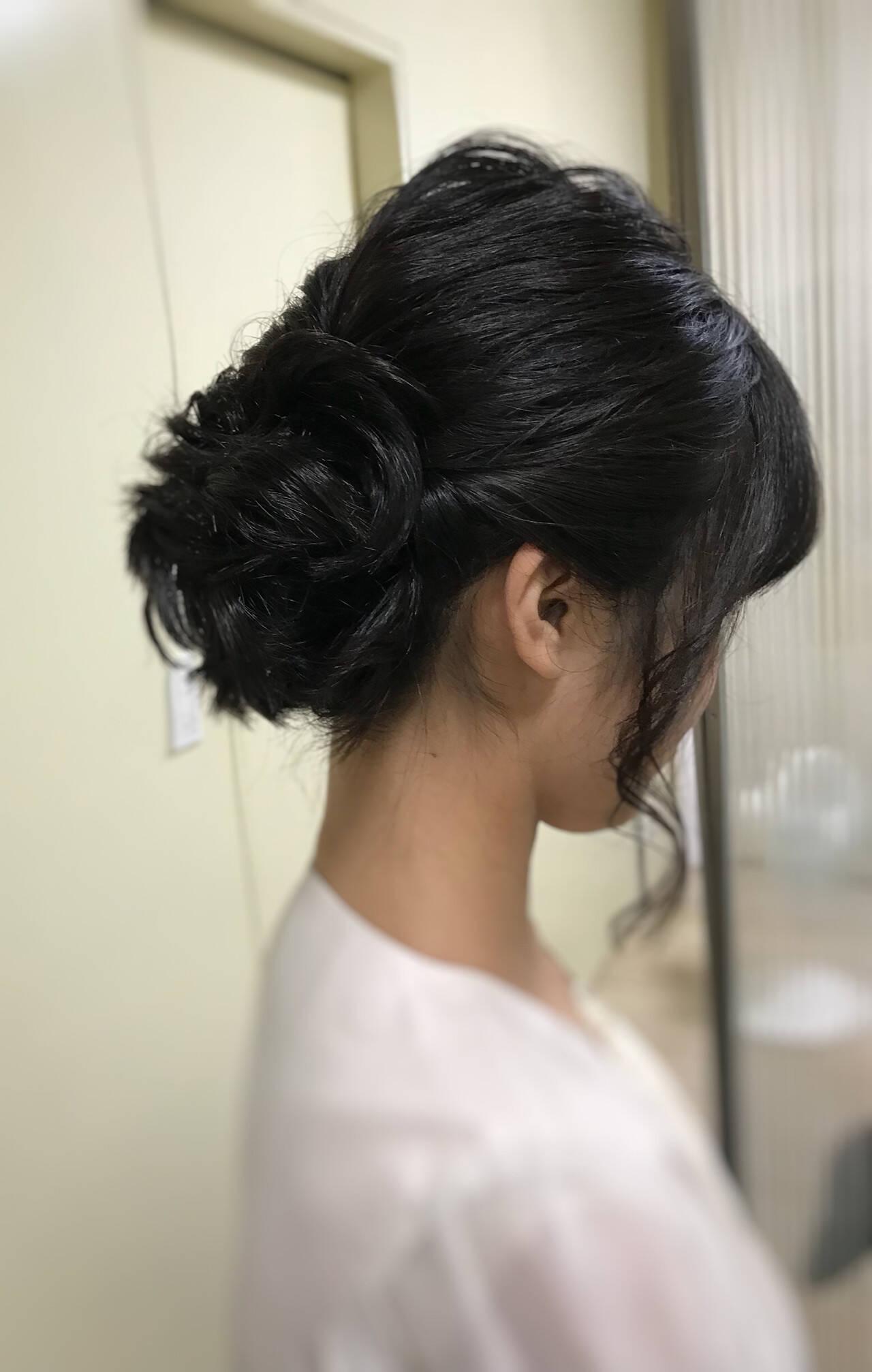 お呼ばれヘア 結婚式 フェミニン すっきりヘアスタイルや髪型の写真・画像