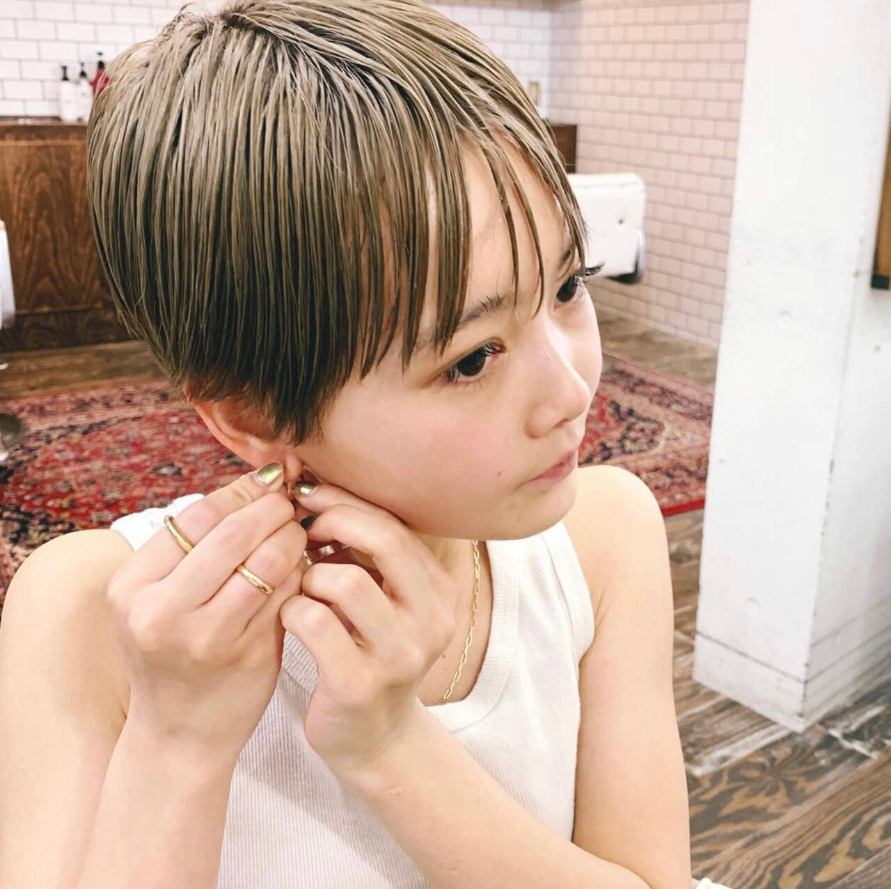 ハイトーンカラー マッシュ マッシュショート ショートヘアスタイルや髪型の写真・画像
