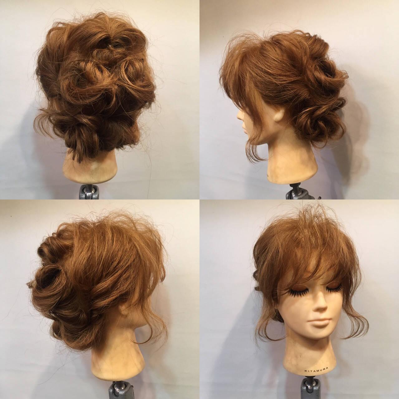 夏 結婚式 お祭り くるりんぱヘアスタイルや髪型の写真・画像
