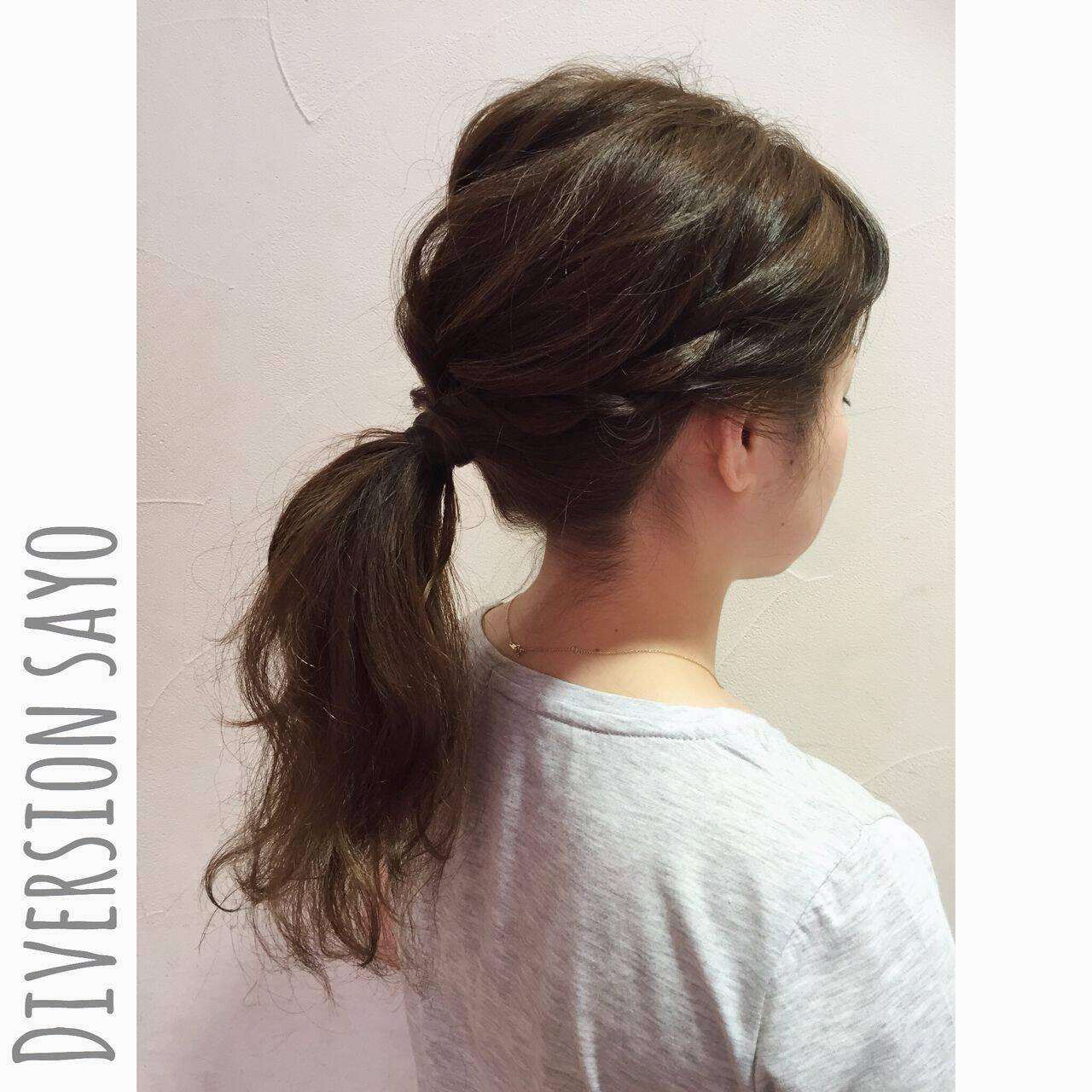ポニーテール ヘアアレンジ ラフ ローポニーテールヘアスタイルや髪型の写真・画像