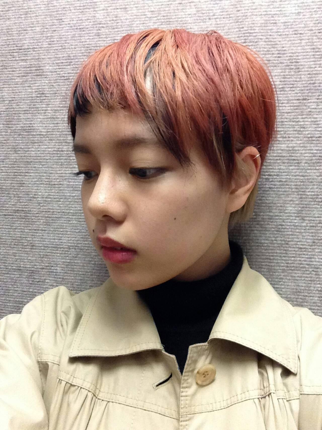 ショート アッシュ グラデーションカラー レッドヘアスタイルや髪型の写真・画像