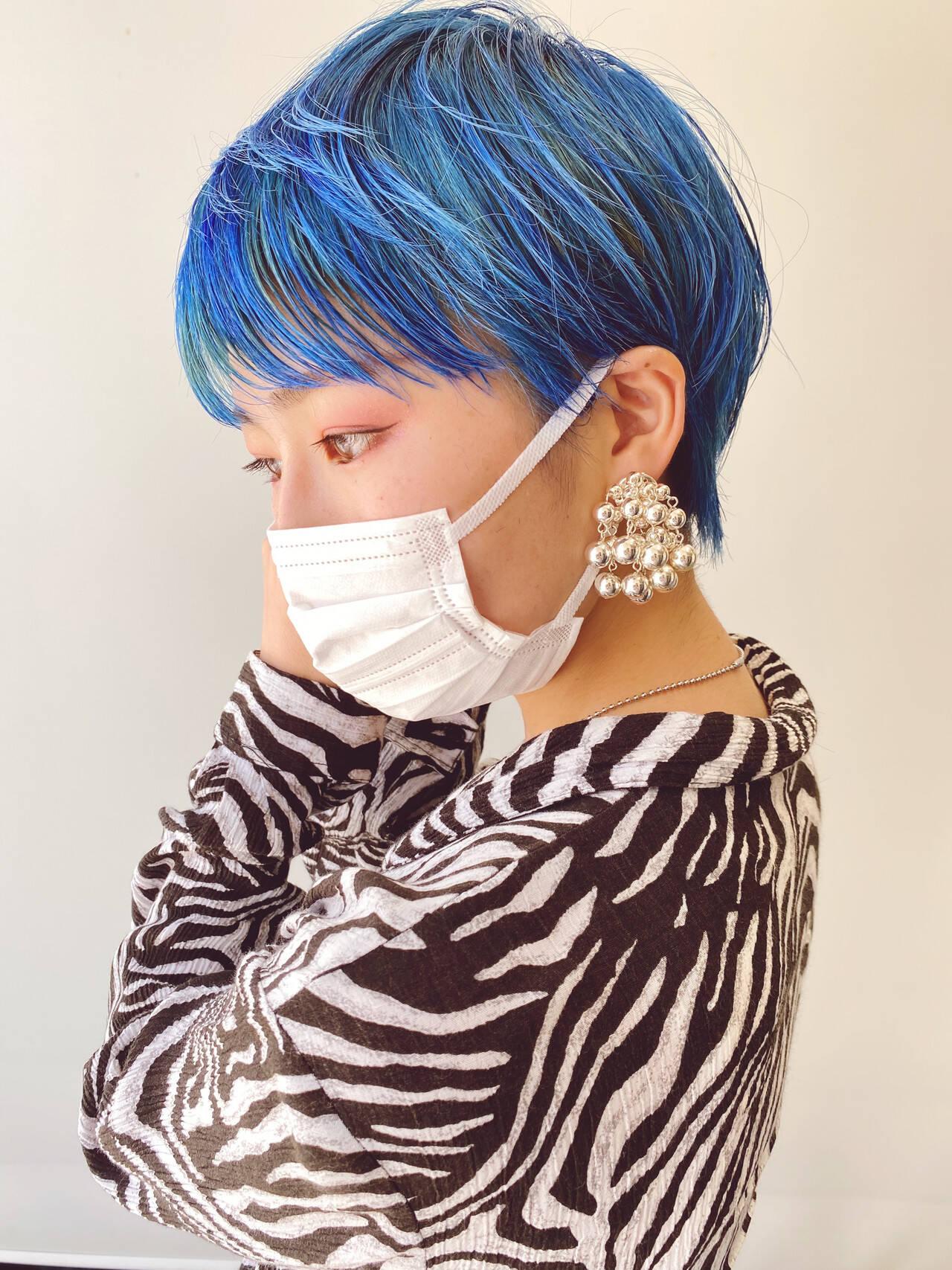 インナーカラー ハンサムショート ショート ベリーショートヘアスタイルや髪型の写真・画像