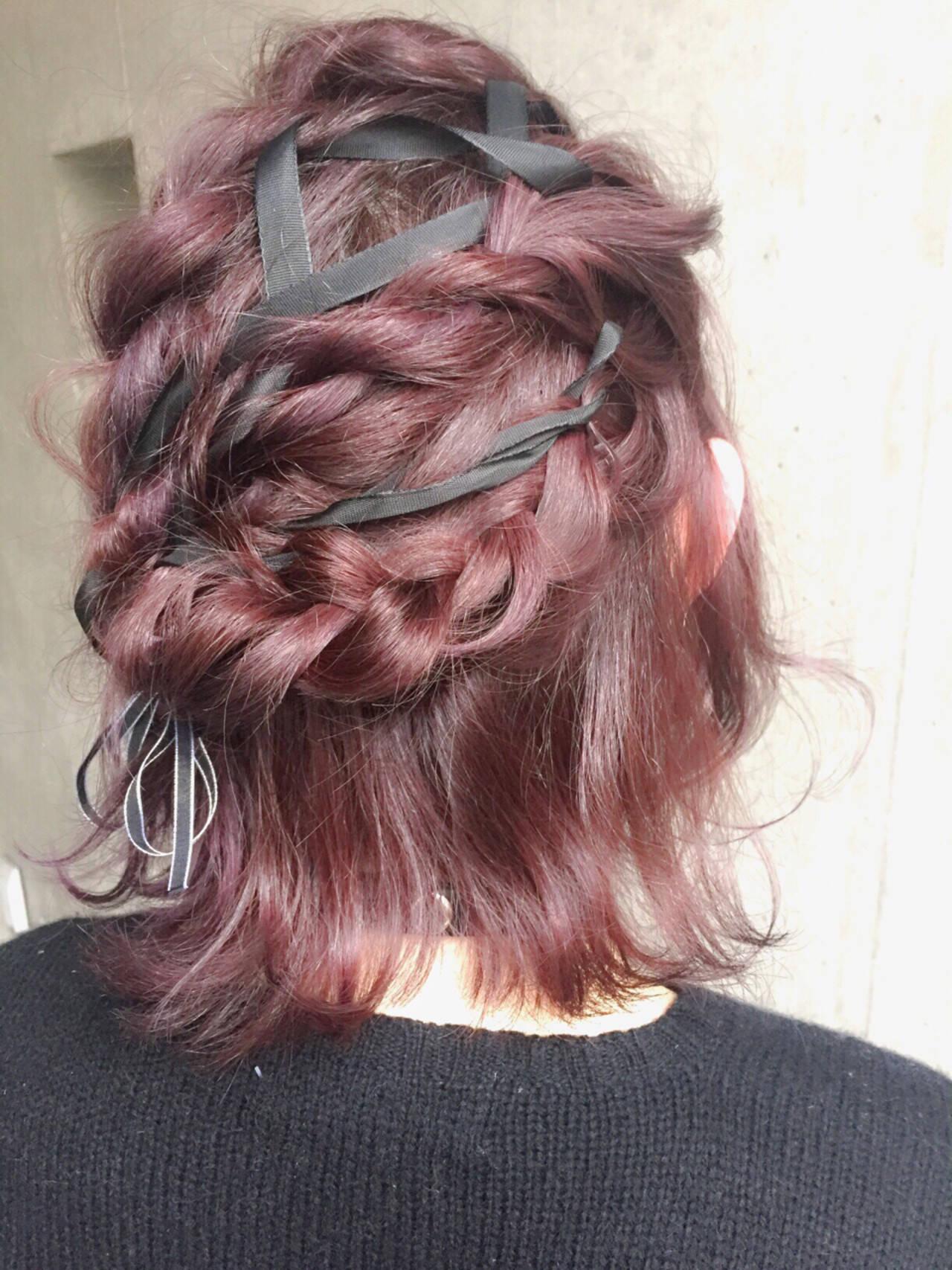 ゆるふわ ボブ ヘアアレンジ ハーフアップヘアスタイルや髪型の写真・画像