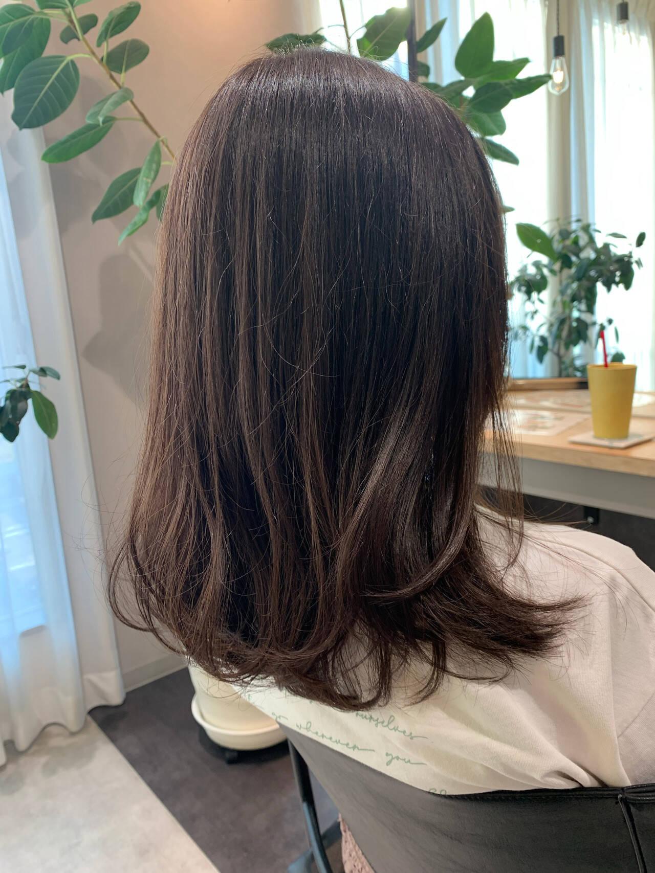 ナチュラル セミロング レイヤーカット 透明感カラーヘアスタイルや髪型の写真・画像