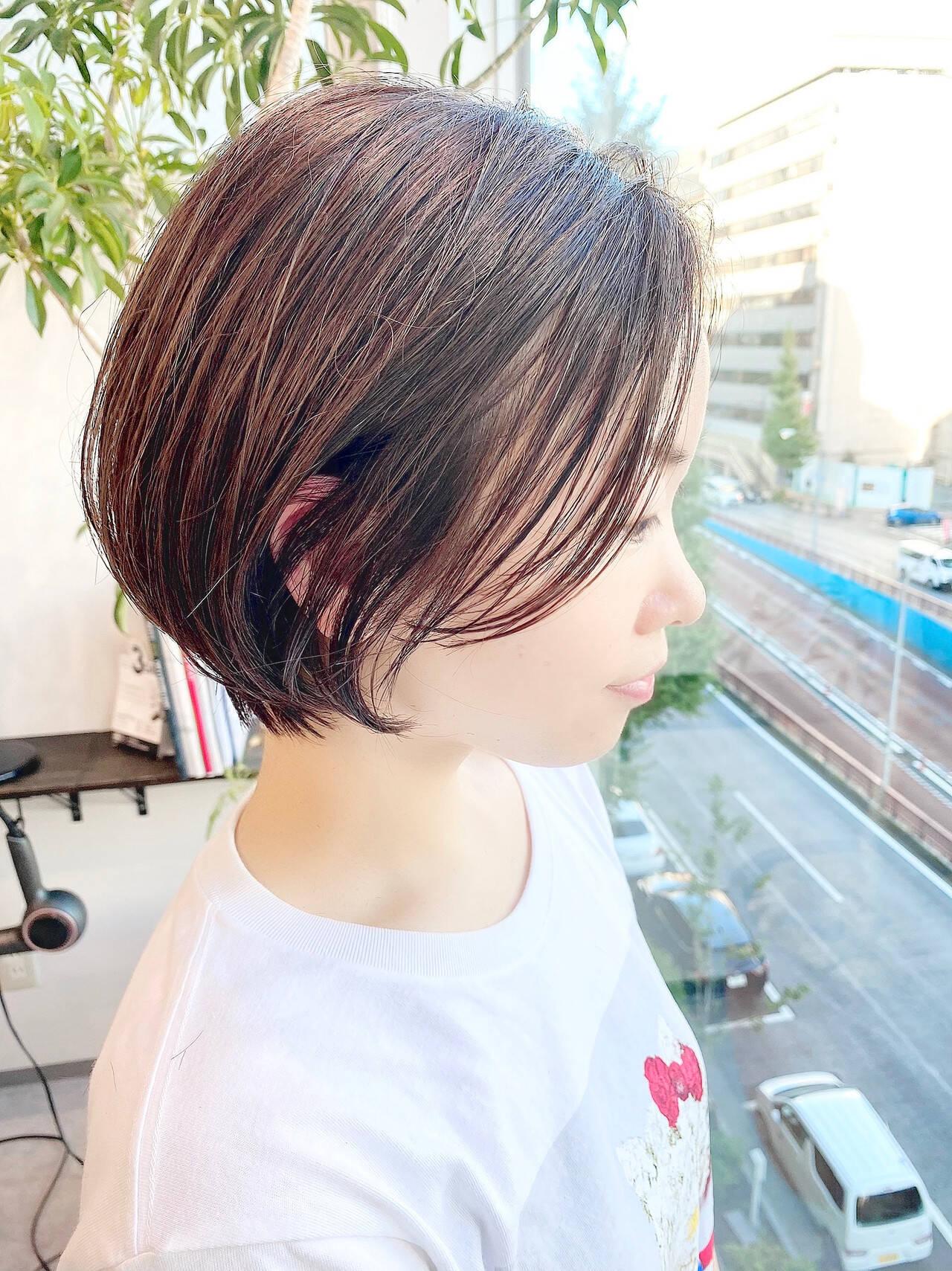 デート ショートボブ 大人かわいい オフィスヘアスタイルや髪型の写真・画像