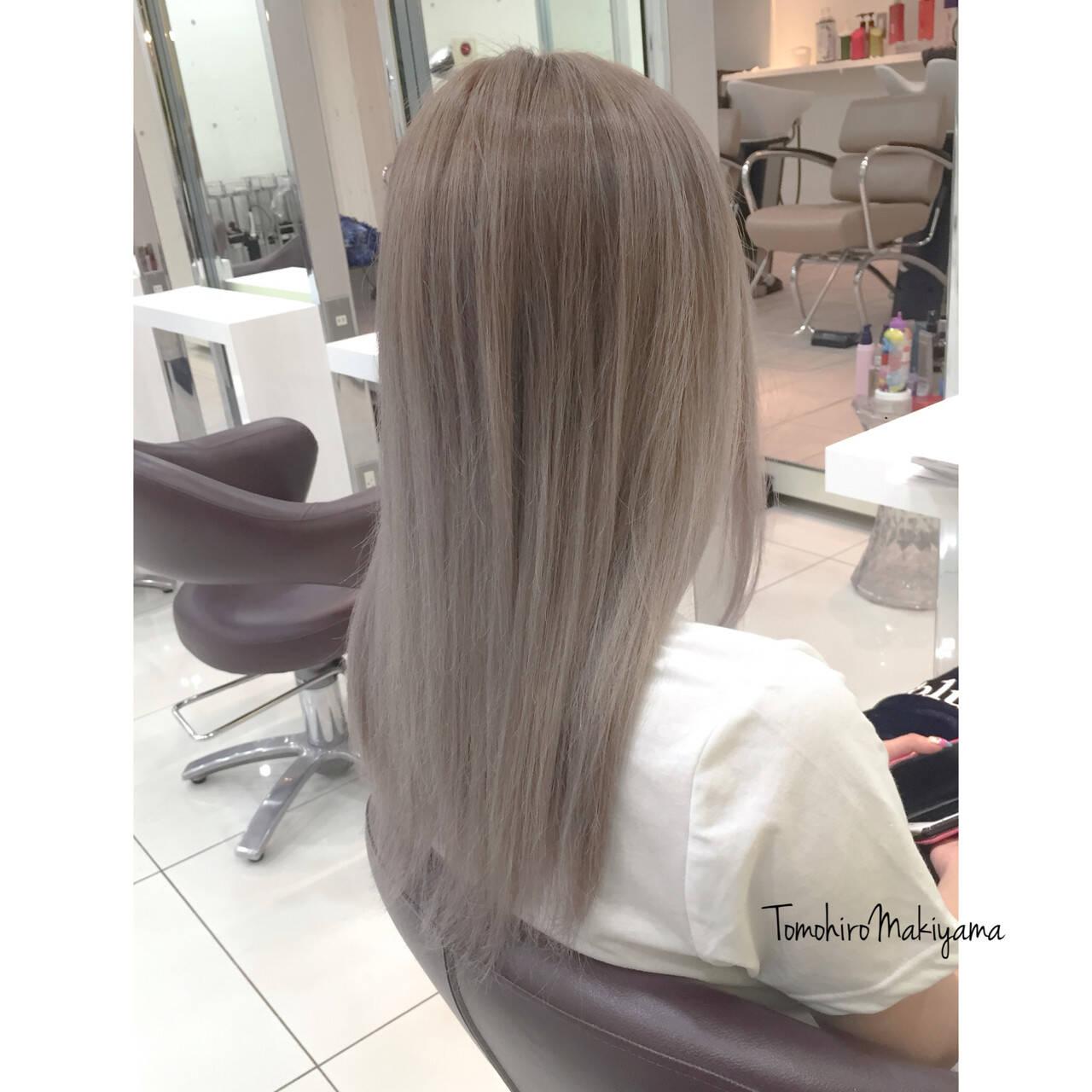 ブリーチ ロング ストリート ホワイトヘアスタイルや髪型の写真・画像