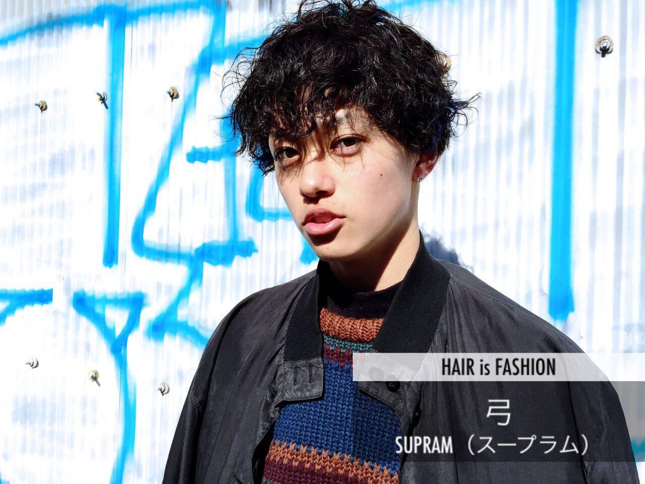 暗髪 ストリート ウェットヘア パーマヘアスタイルや髪型の写真・画像