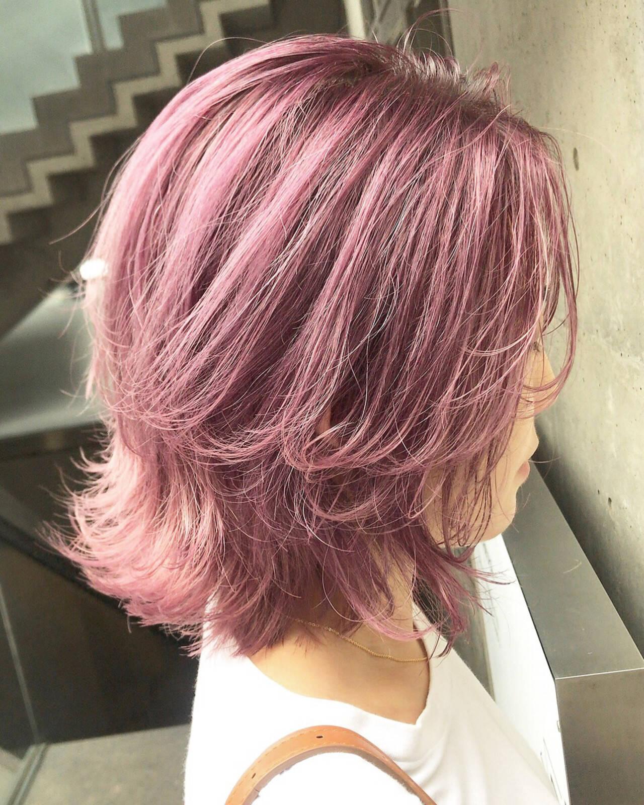 ピンクアッシュ ピンク ラベンダーピンク ベリーピンクヘアスタイルや髪型の写真・画像