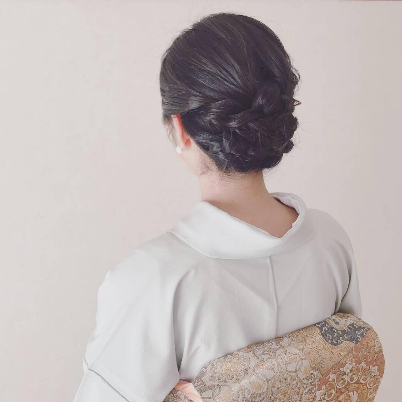 ミディアム 結婚式 着物 上品ヘアスタイルや髪型の写真・画像