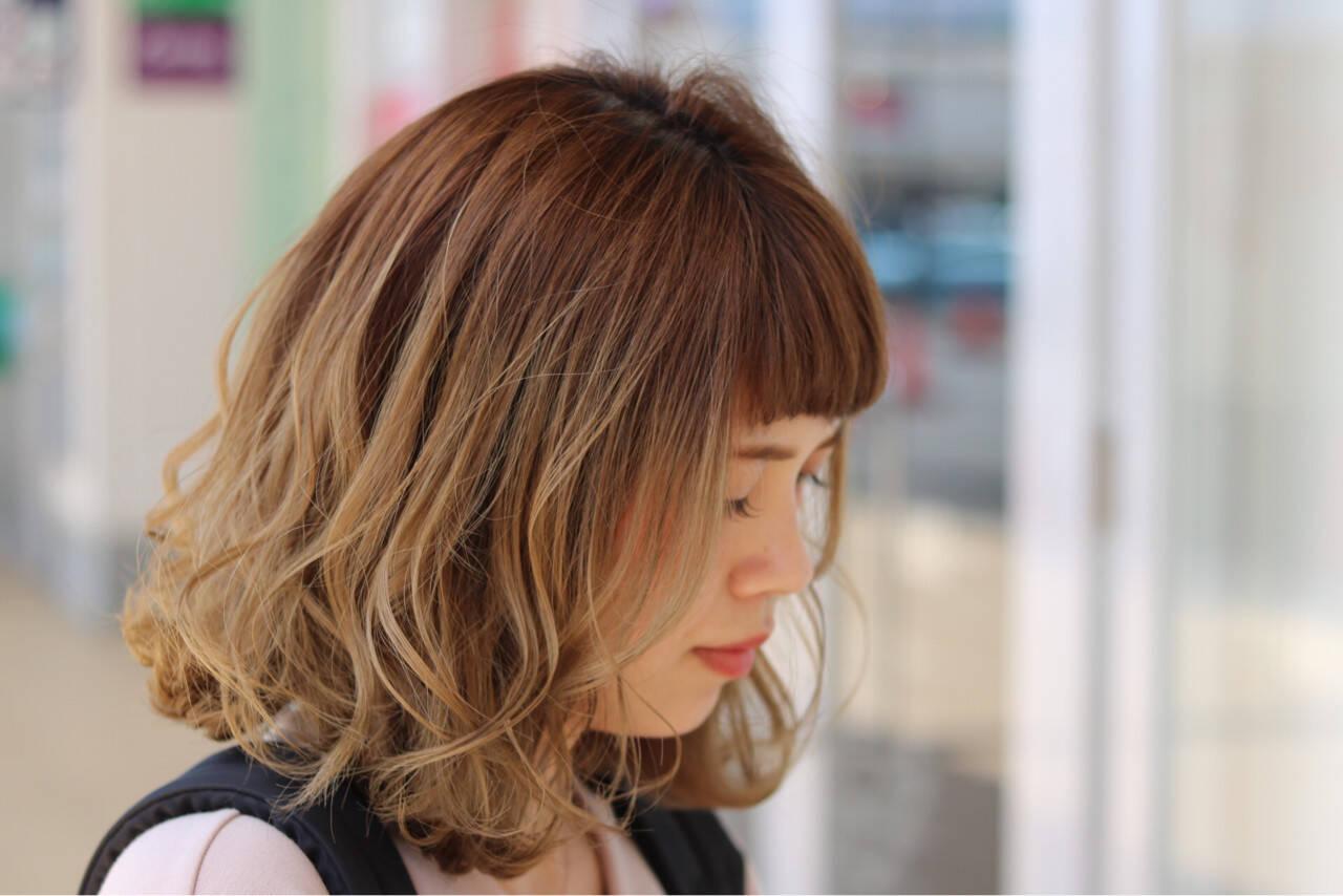 ボブ 外国人風 ロブ ナチュラルヘアスタイルや髪型の写真・画像