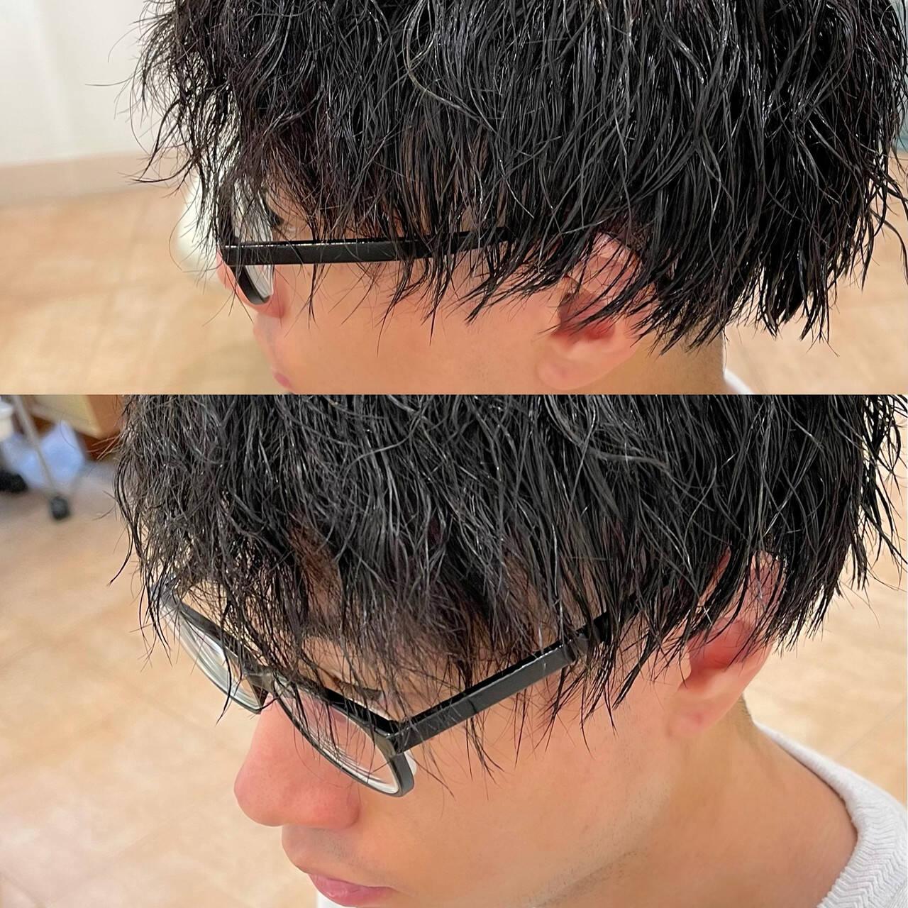 メンズ ストリート ショート スパイラルパーマヘアスタイルや髪型の写真・画像