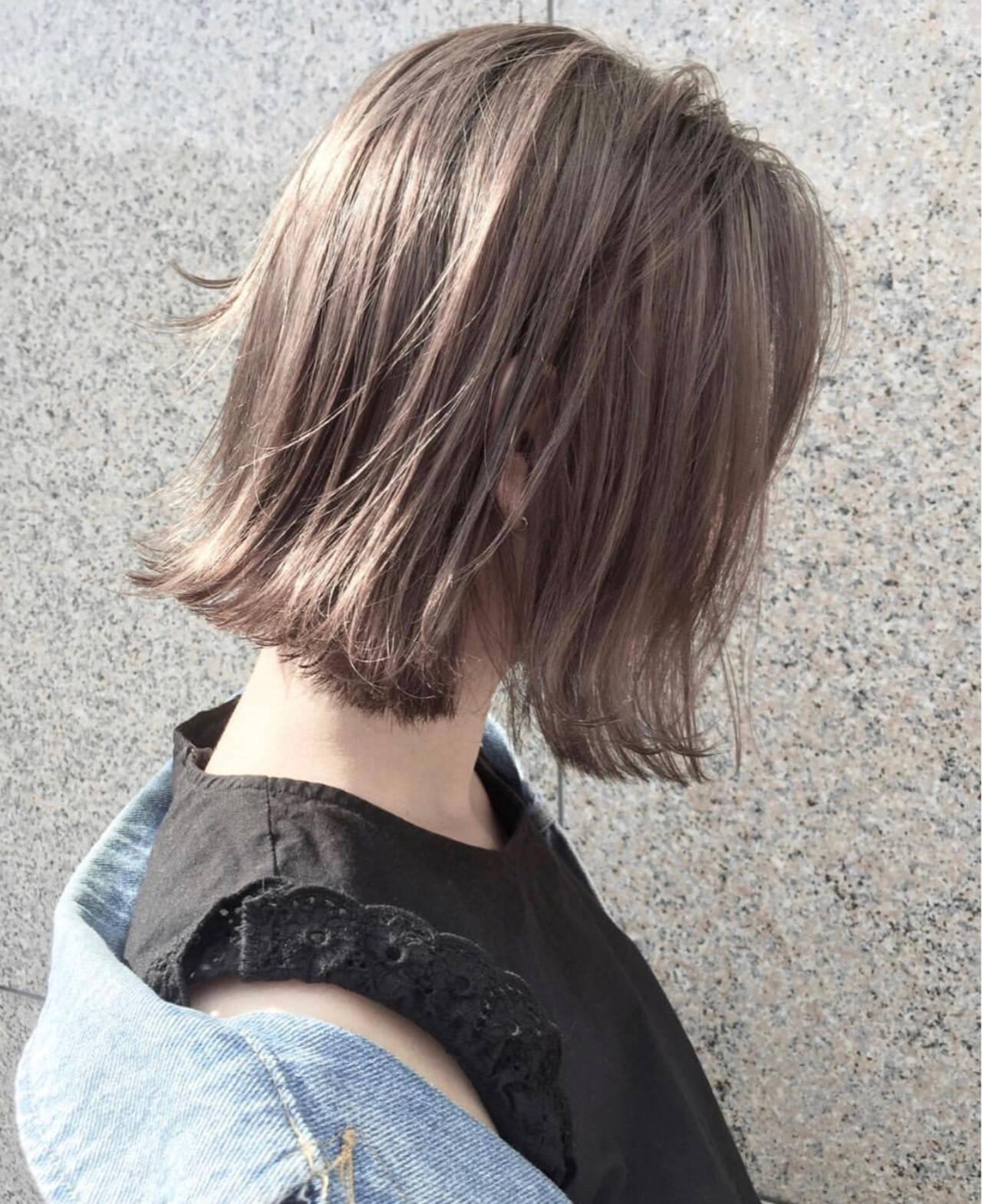 外国人風カラー ボブ ハイライト アッシュヘアスタイルや髪型の写真・画像
