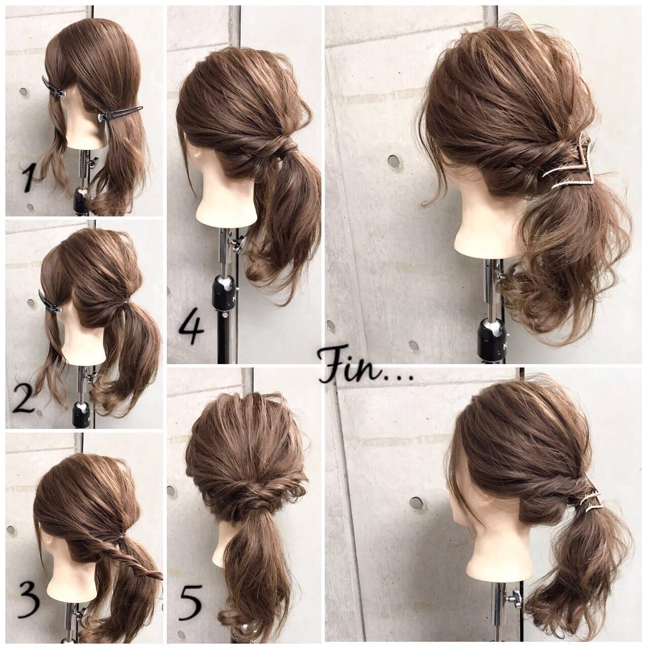 フェミニン ヘアアレンジ セミロング 簡単ヘアアレンジヘアスタイルや髪型の写真・画像