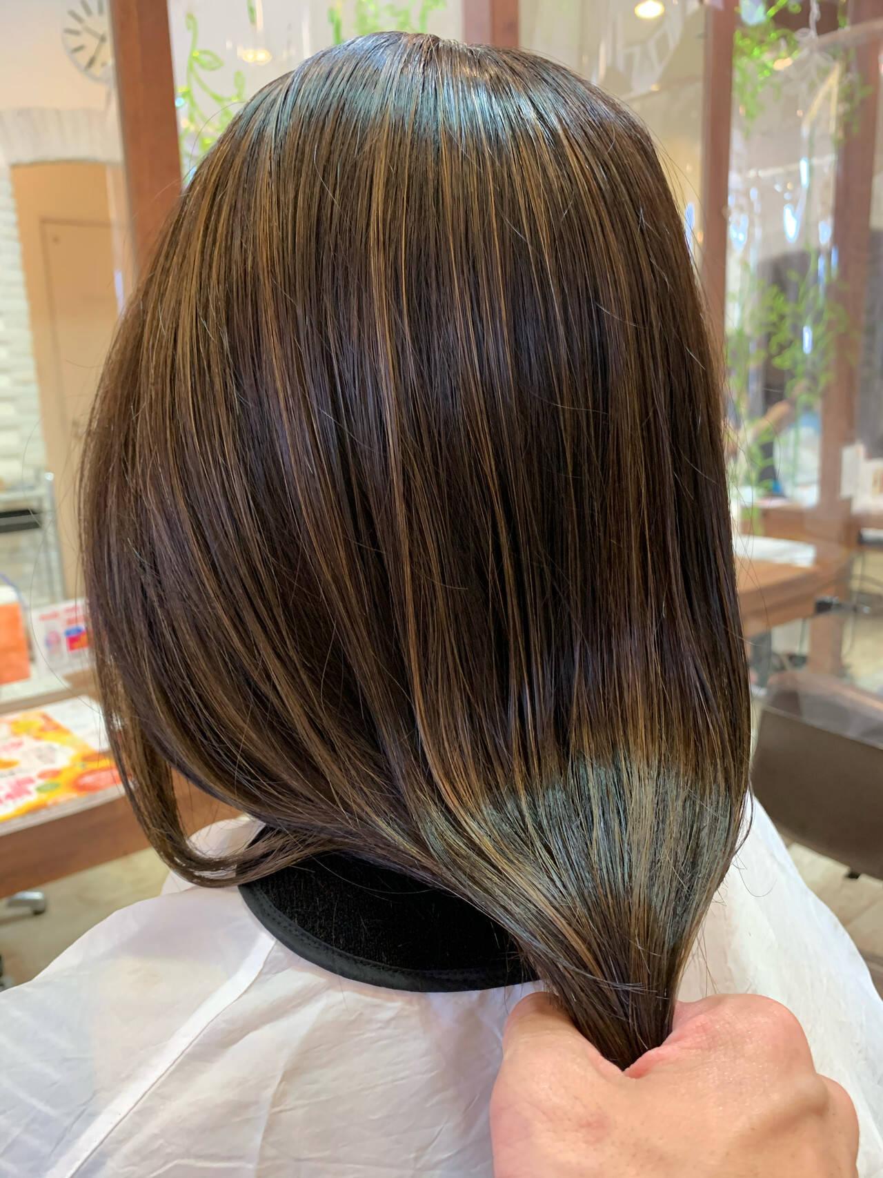 大人ハイライト ハイライト 極細ハイライト ロングヘアスタイルや髪型の写真・画像