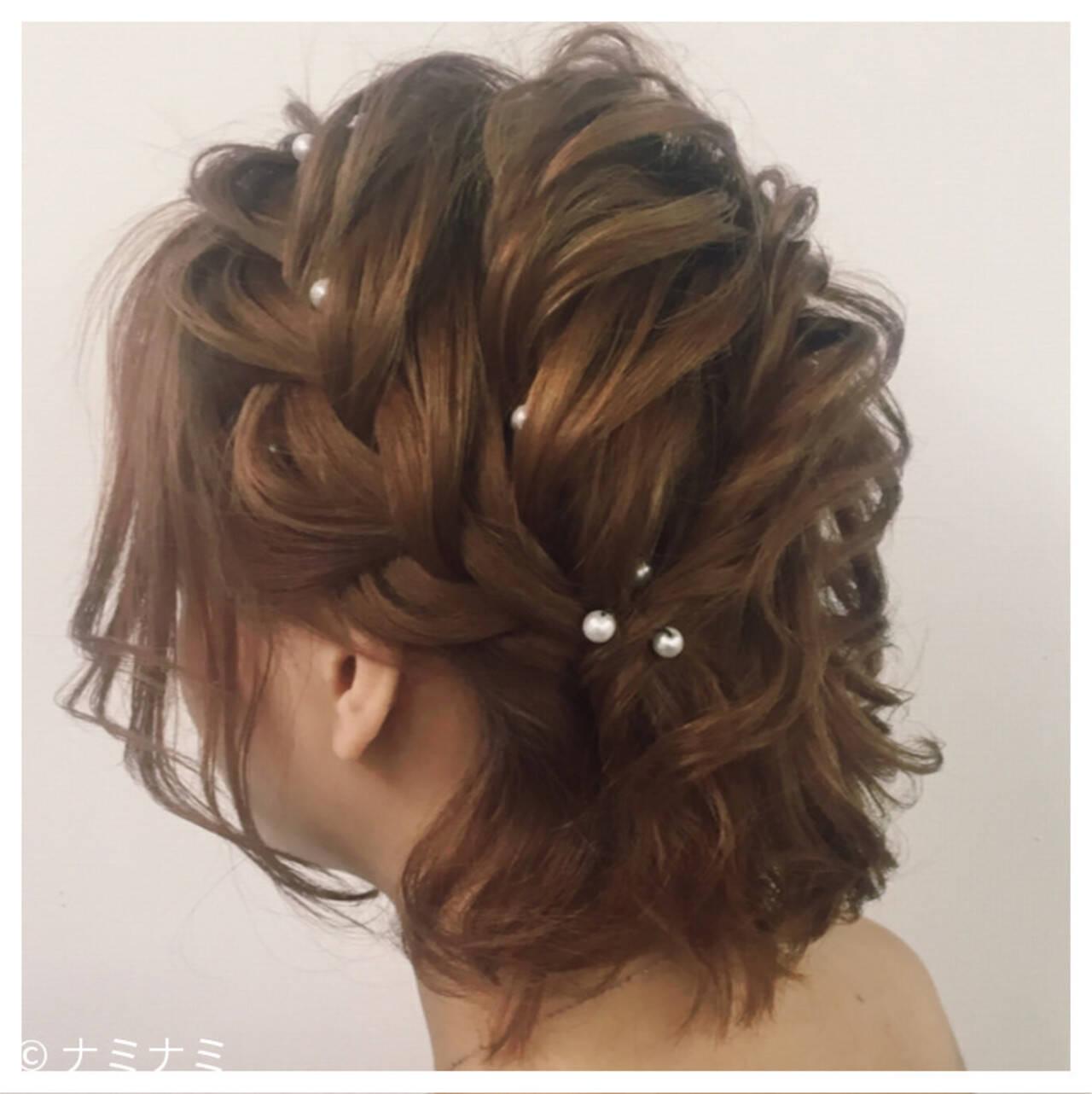 ロープ編み 編み込み ゆるふわ ガーリーヘアスタイルや髪型の写真・画像