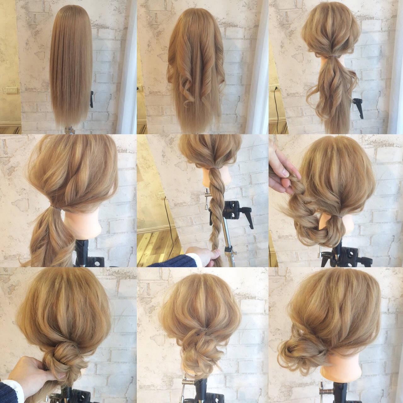 ヘアアレンジ お団子 簡単ヘアアレンジ 大人かわいいヘアスタイルや髪型の写真・画像