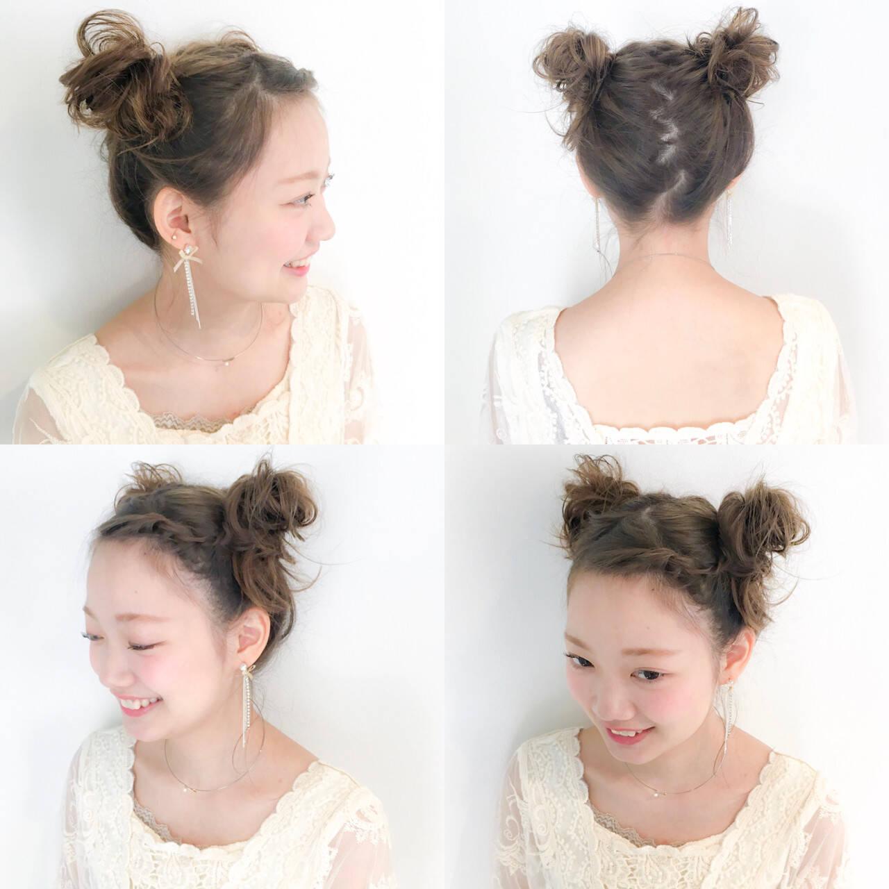 セミロング お団子 ディズニー ヘアアレンジヘアスタイルや髪型の写真・画像