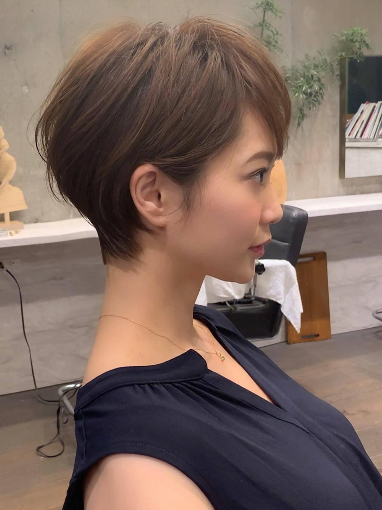 ヘアスタイル 吉瀬美智子 ショートボブ ショートヘアヘアスタイルや髪型の写真・画像
