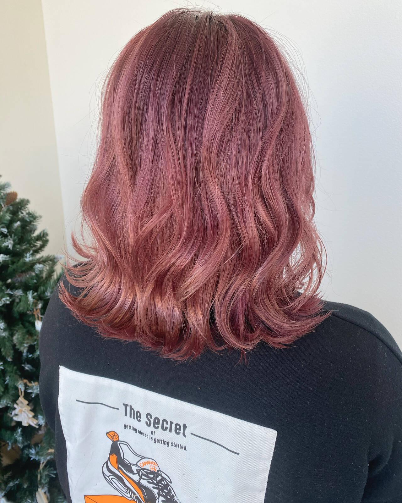 ナチュラル ピンクラベンダー ピンクベージュ ピンクヘアスタイルや髪型の写真・画像
