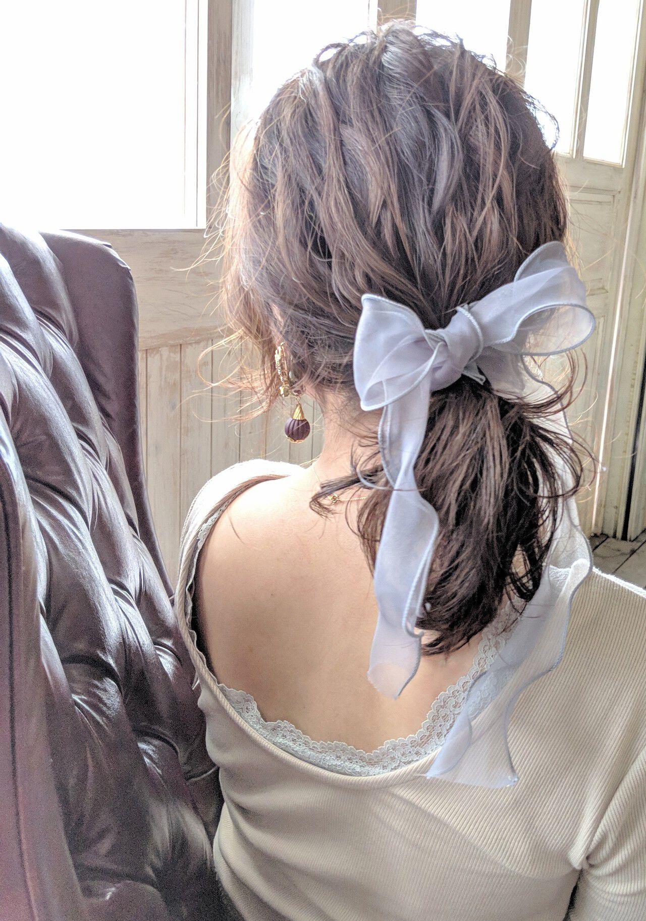 簡単ヘアアレンジ 結婚式 ミディアム リボンアレンジヘアスタイルや髪型の写真・画像