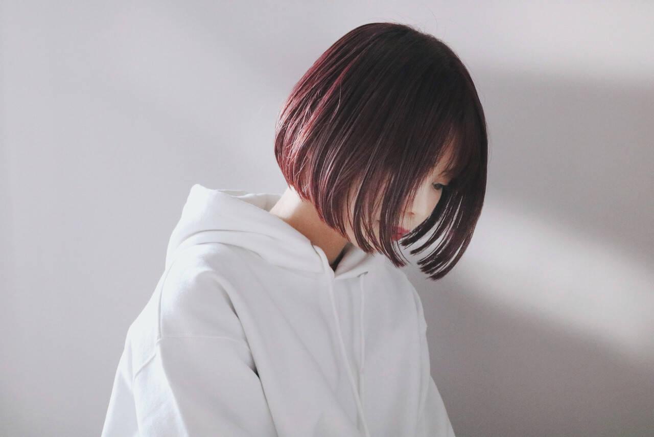 ボブ ピンクベージュ ショートボブ ピンクアッシュヘアスタイルや髪型の写真・画像