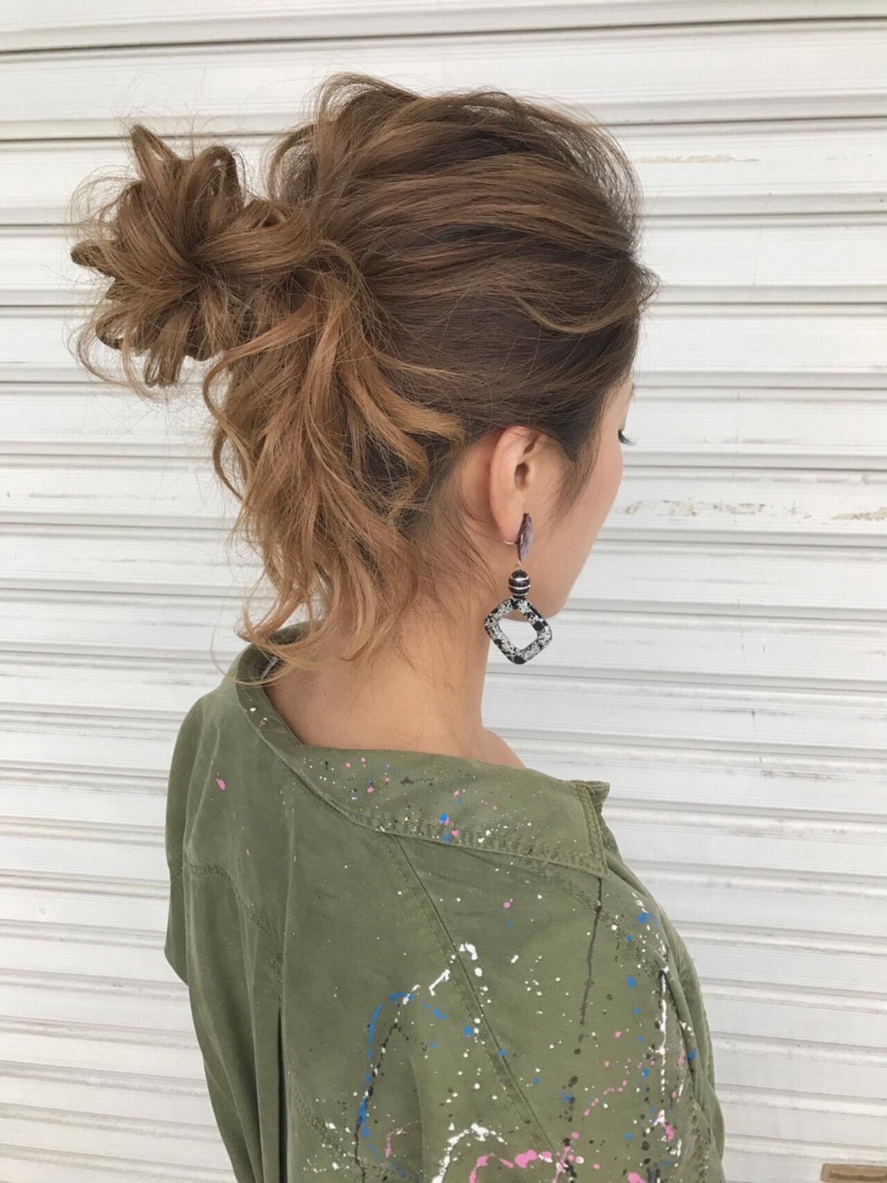ミディアム ヘアアレンジ アウトドア 簡単ヘアアレンジヘアスタイルや髪型の写真・画像