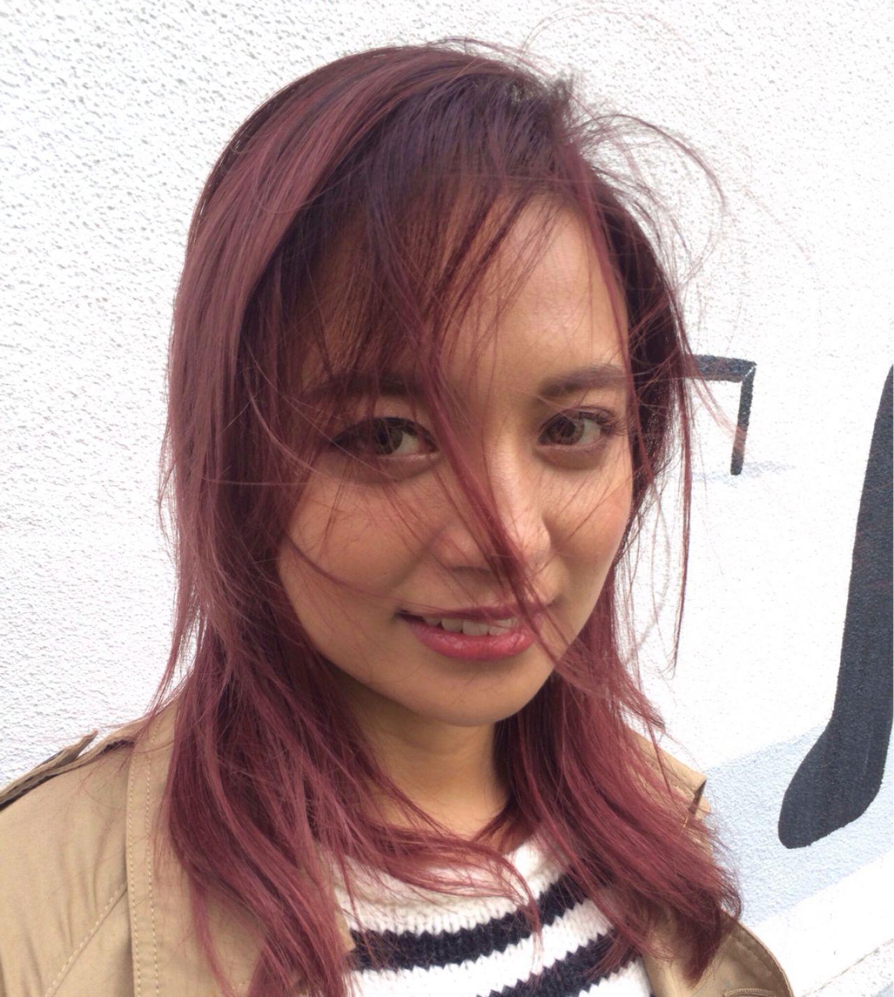 グラデーションカラー ロブ シースルーバング ストリートヘアスタイルや髪型の写真・画像