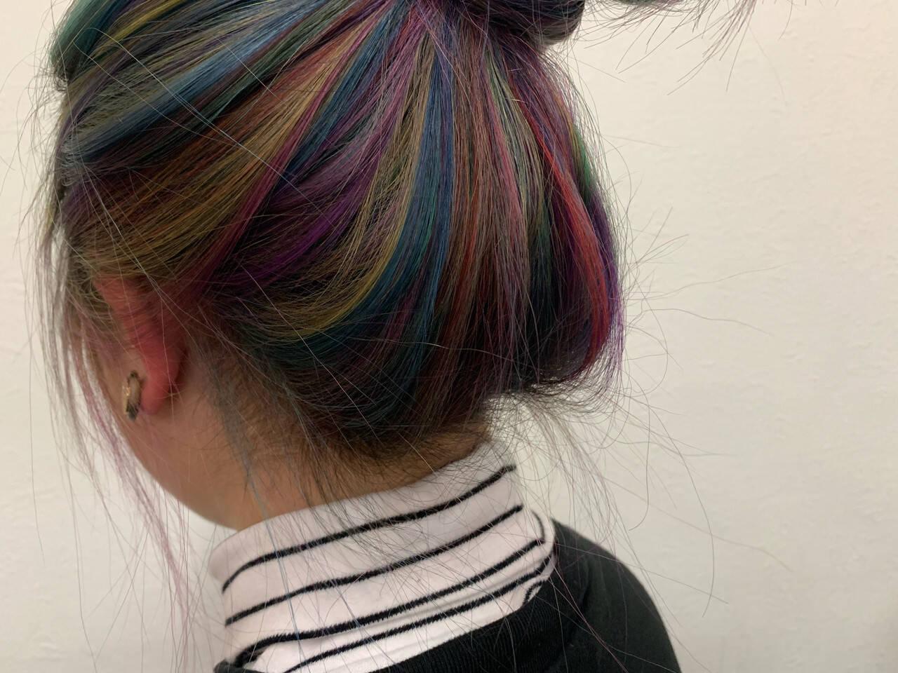 パステルカラー ハイトーンカラー デザインカラー ユニコーンカラーヘアスタイルや髪型の写真・画像