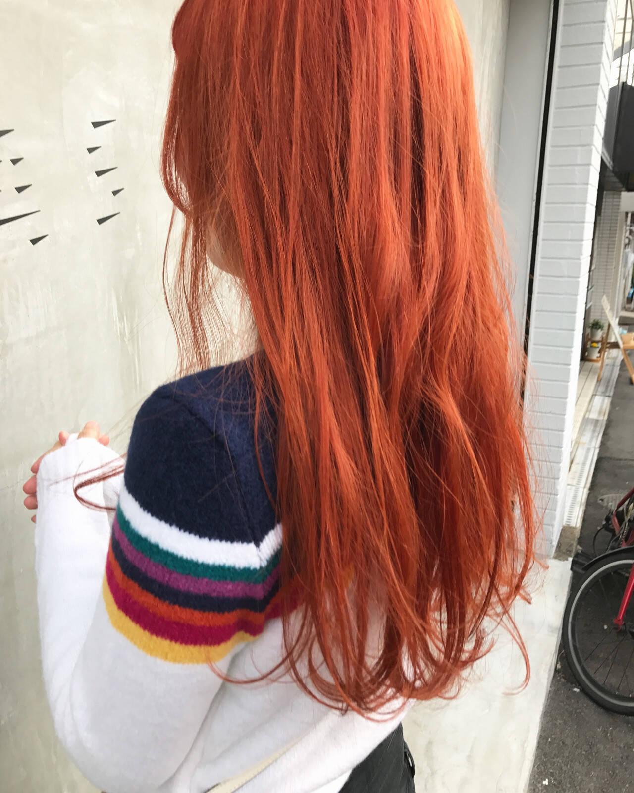 オレンジ アプリコットオレンジ オレンジカラー オレンジブラウンヘアスタイルや髪型の写真・画像