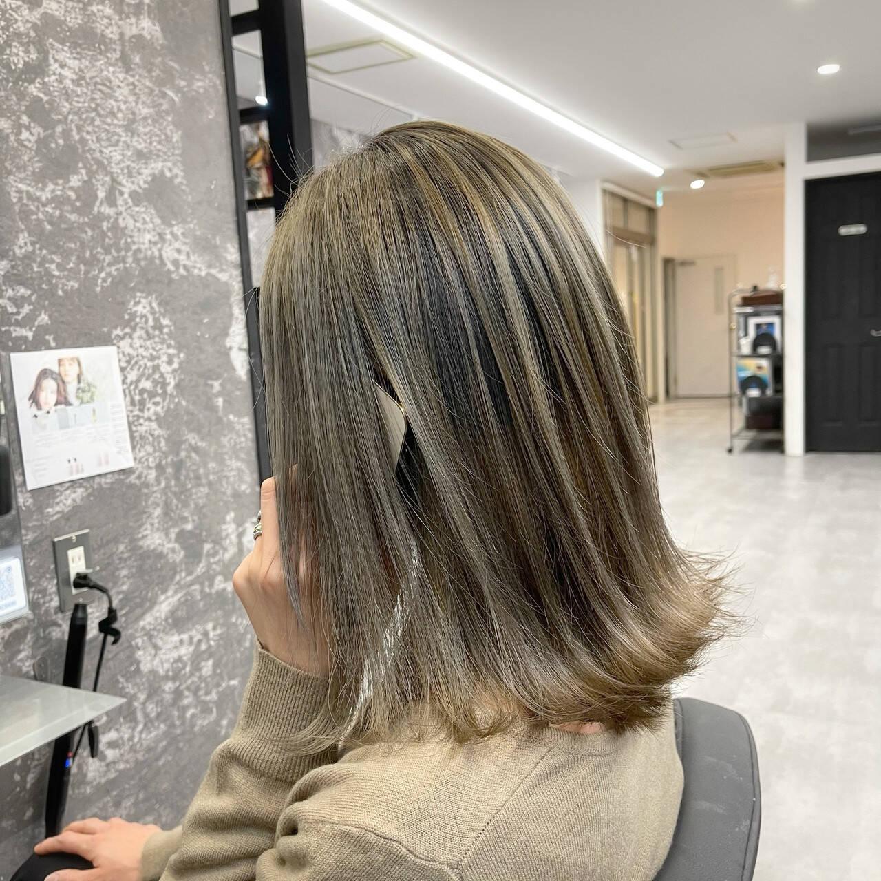 ストリート アッシュ バレイヤージュ 外国人風カラーヘアスタイルや髪型の写真・画像