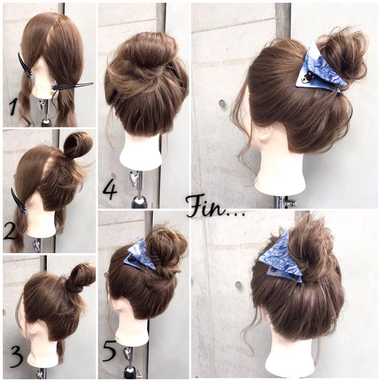 簡単 セミロング 簡単ヘアアレンジ ナチュラルヘアスタイルや髪型の写真・画像