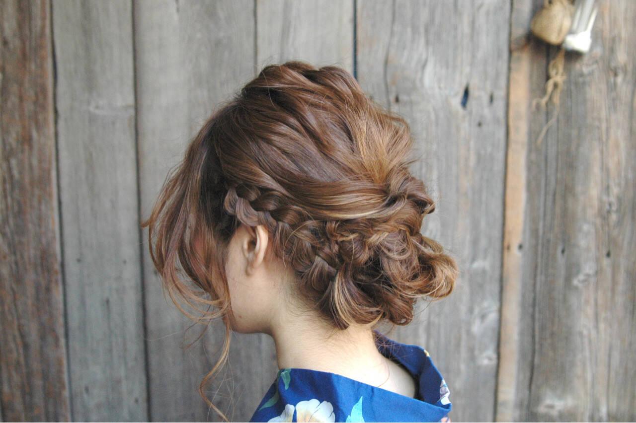 ヘアアレンジ 和装 花火大会 まとめ髪ヘアスタイルや髪型の写真・画像